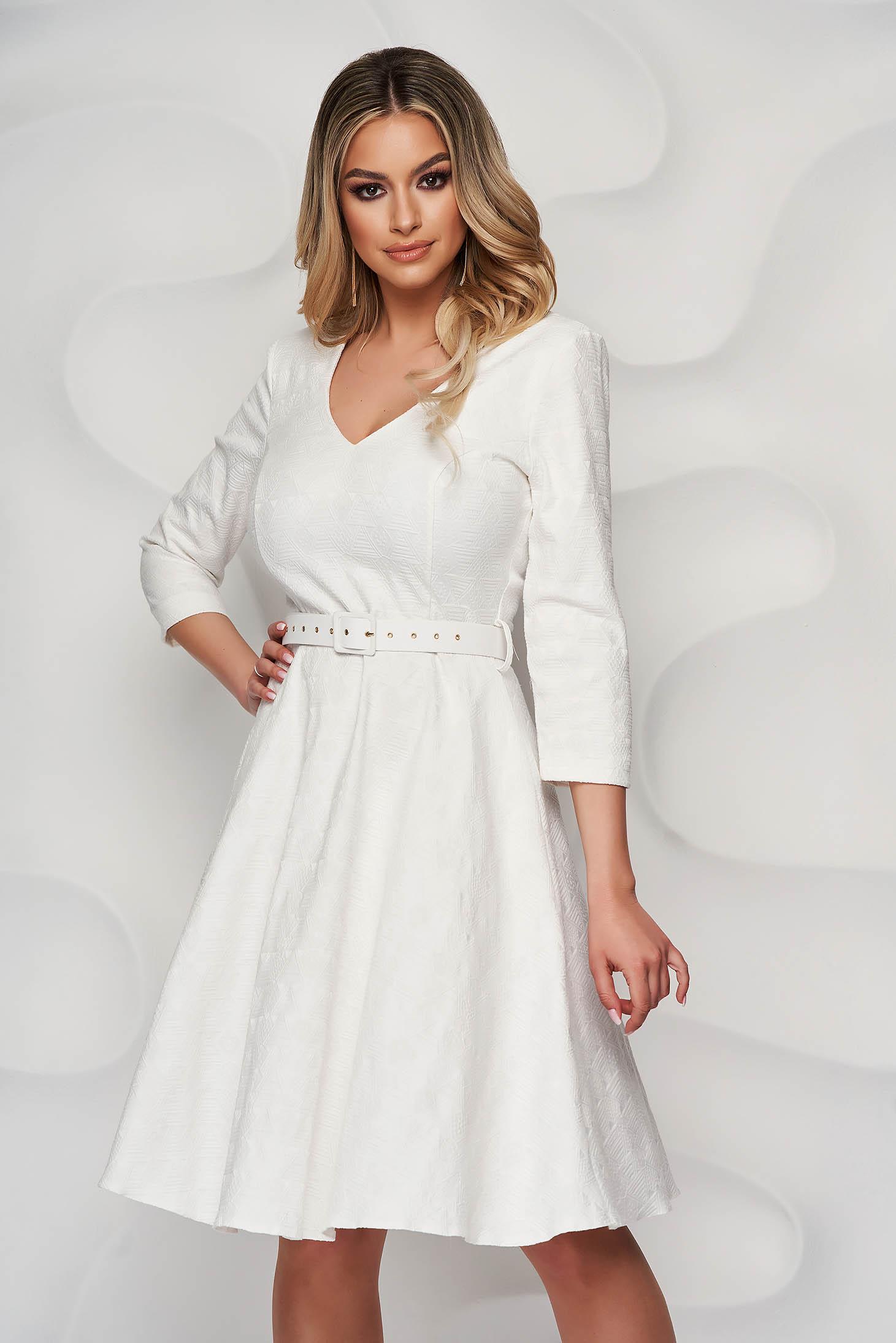 StarShinerS ivory dress cloche elegant with v-neckline nonelastic fabric