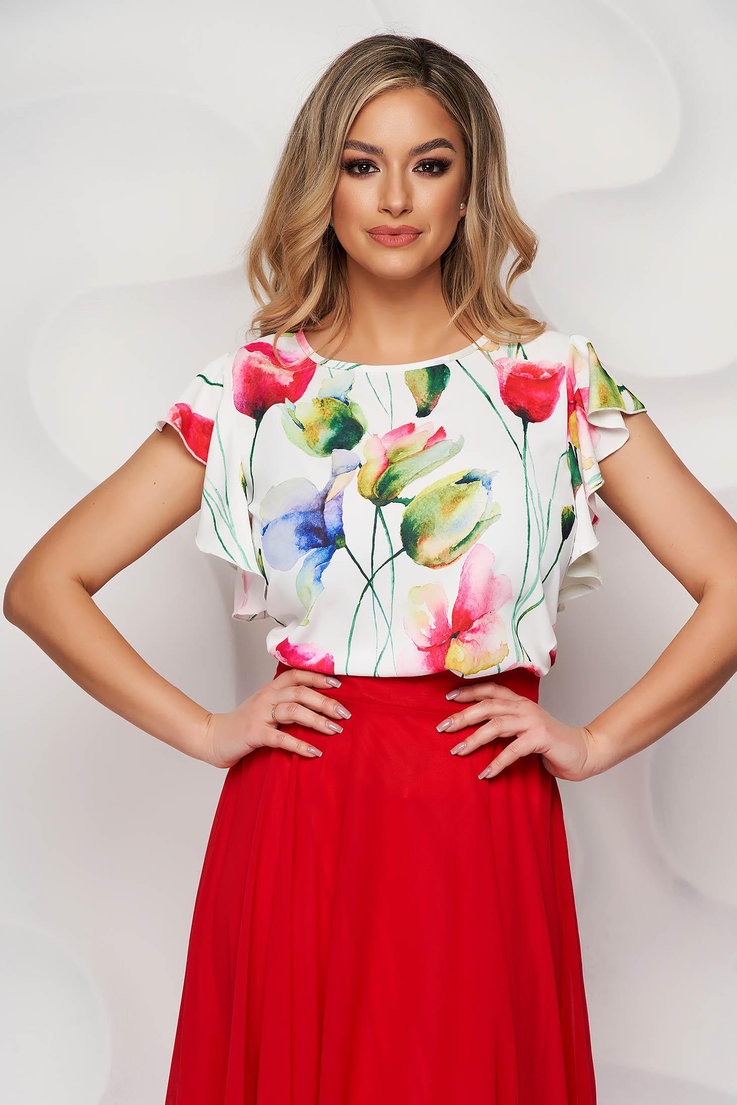 Bluza dama StarShinerS ivoire cu imprimeu floral din material vaporos cu volanase