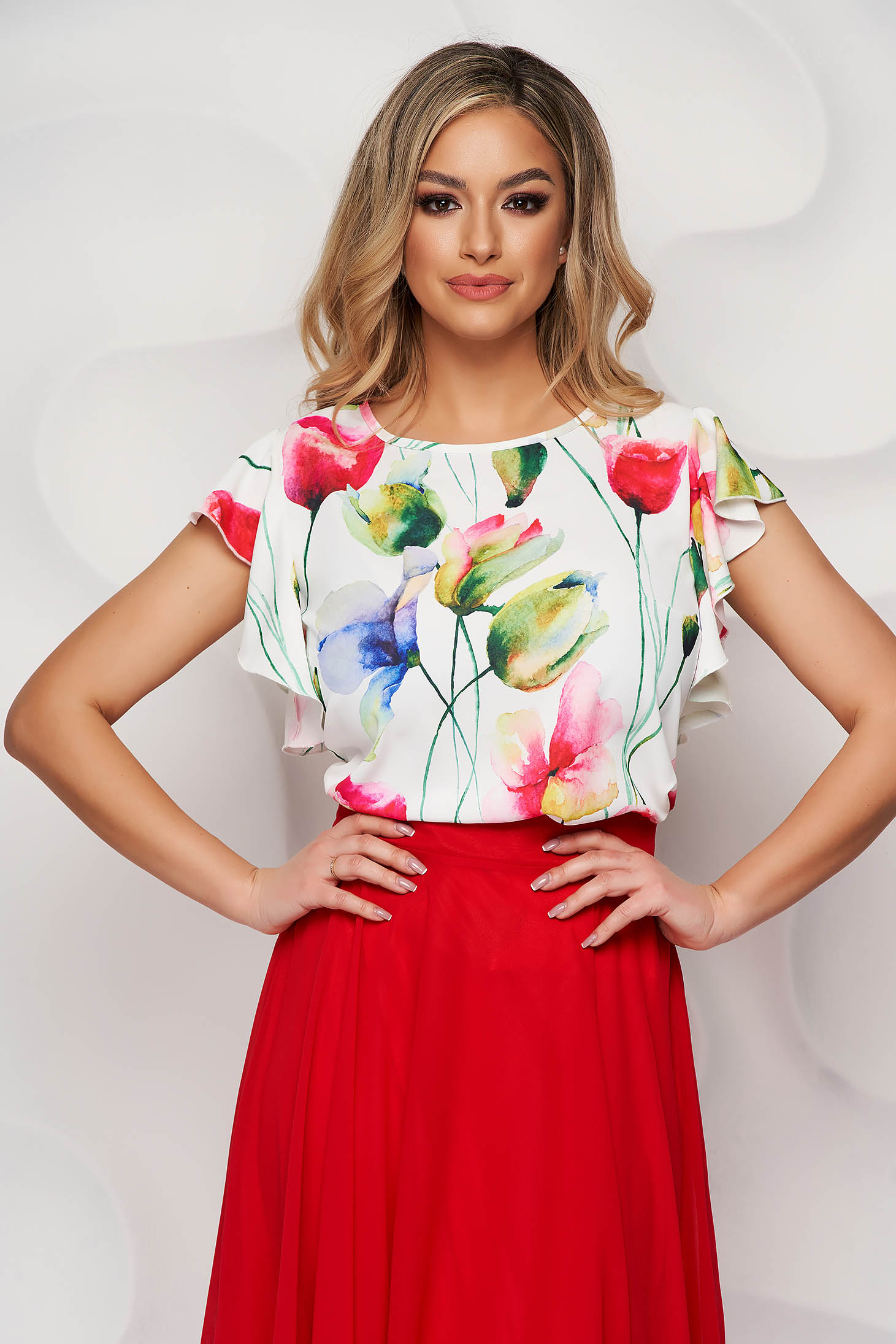 StarShinerS ivory women`s blouse with floral print airy fabric with ruffle details