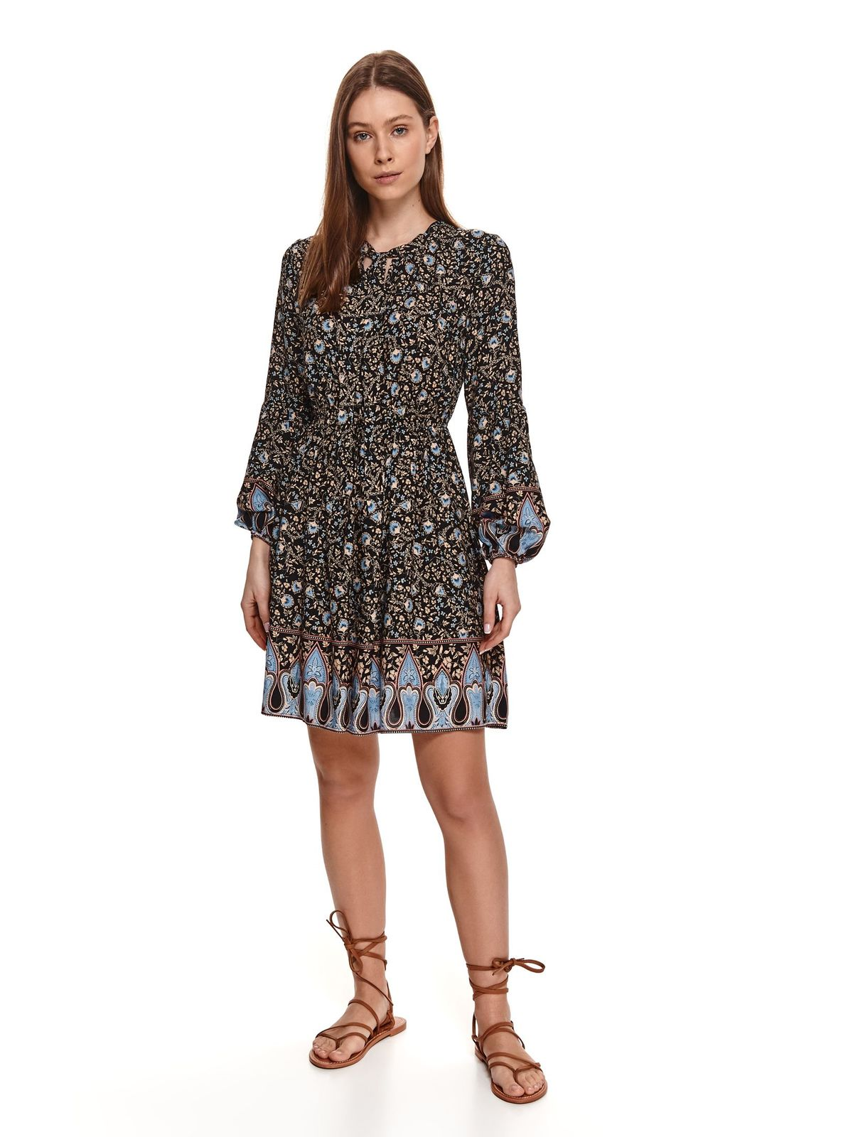 Black dress with floral print cloche with elastic waist elastic held sleeves