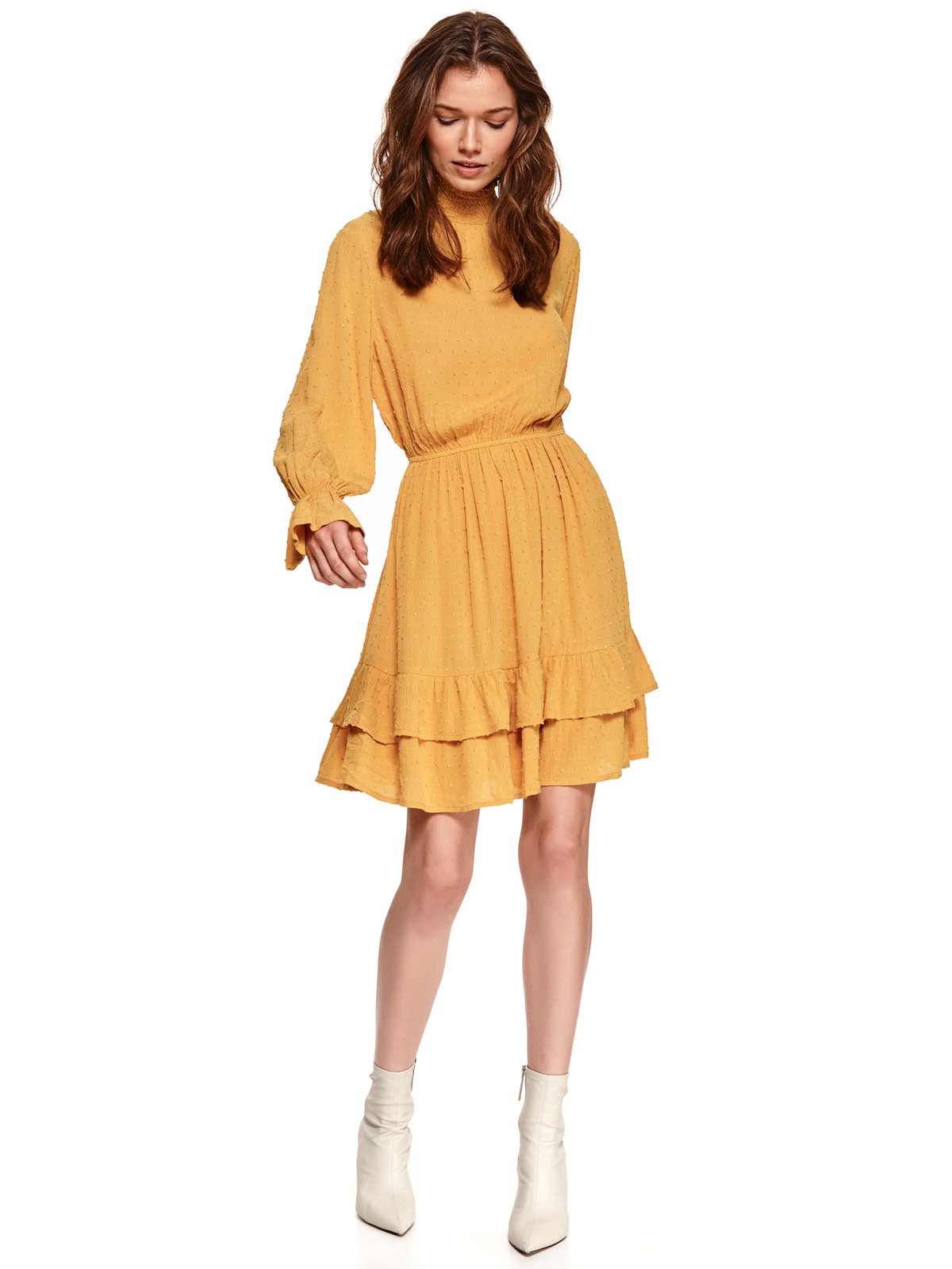 Yellow dress cloche with elastic waist plumeti with turtle neck with ruffle details