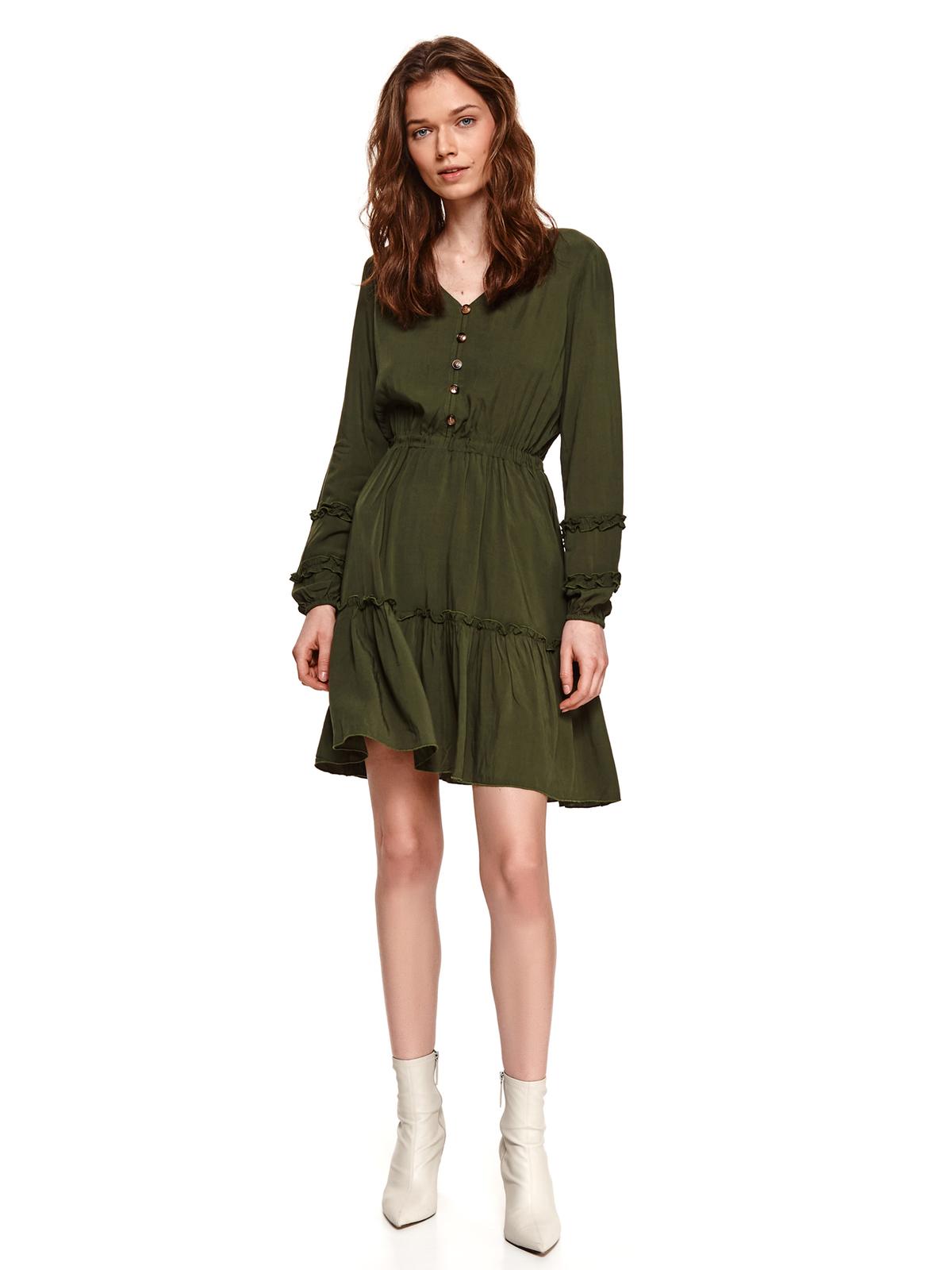 Sötétzöld fodros rövid ruha harang alakú gumirozott derékrésszel