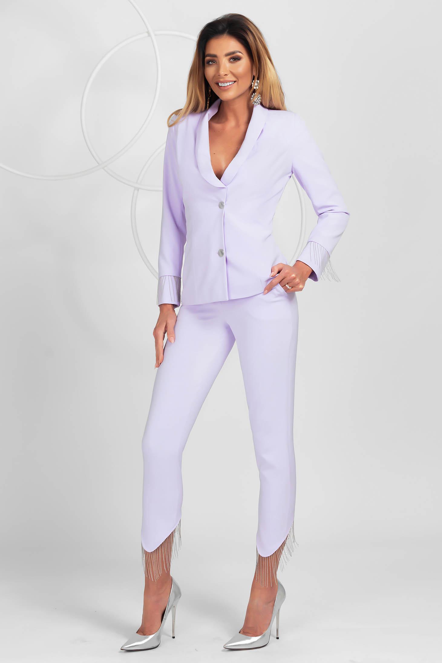 Pantaloni PrettyGirl lila eleganti asimetrici conici cu talie normala cu franjuri in partea de jos