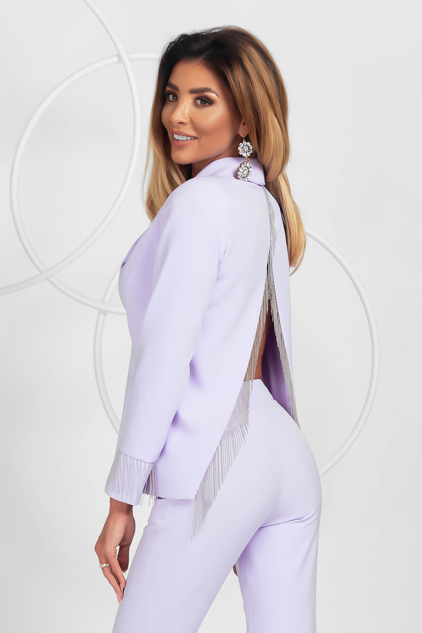 Lila jacket loose fit elegant with fringes with padded shoulders