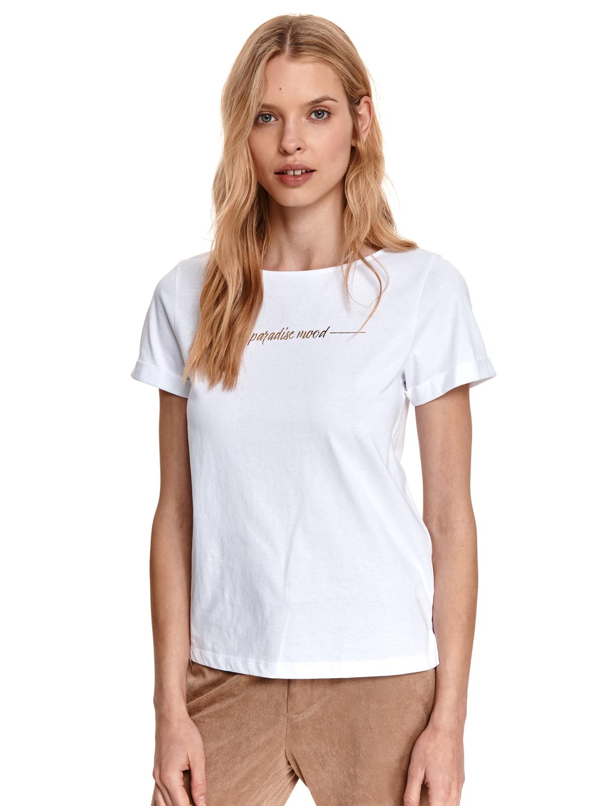 Tricou Top Secret alb din bumbac cu croi larg si imprimeu cu scris