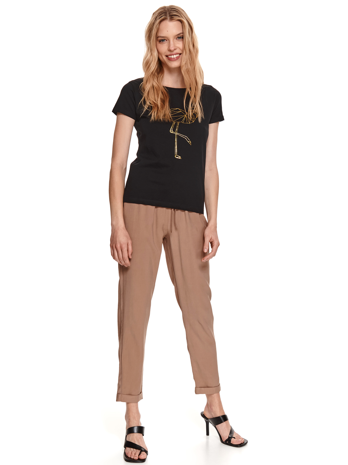 Fekete bő szabású rugalmas pamut póló grafikai díszítéssel