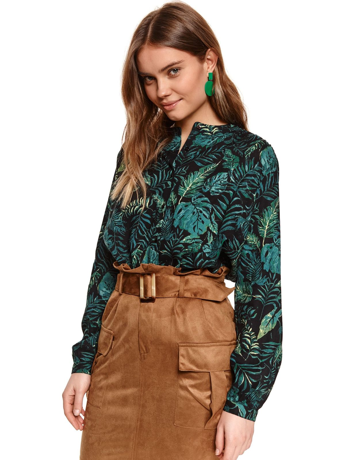 With floral print loose fit black women`s shirt