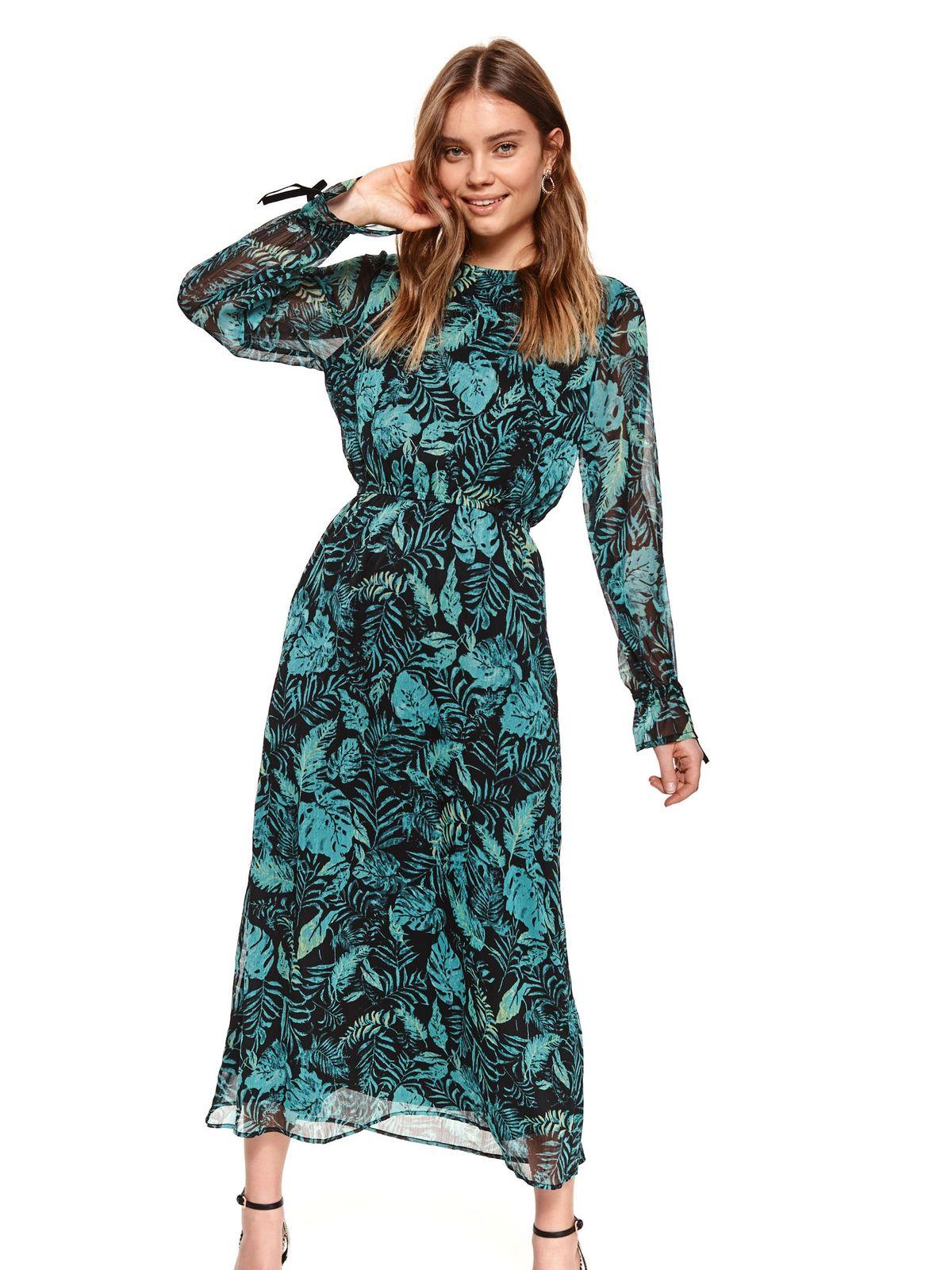Fekete virágmintás harang alakú gumirozott derékrésszel béléssel muszlin ruha