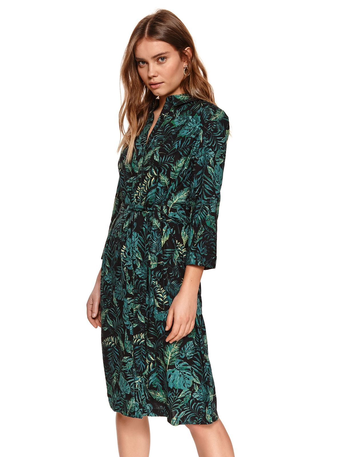 Black dress with floral print airy fabric accessorized with tied waistband midi