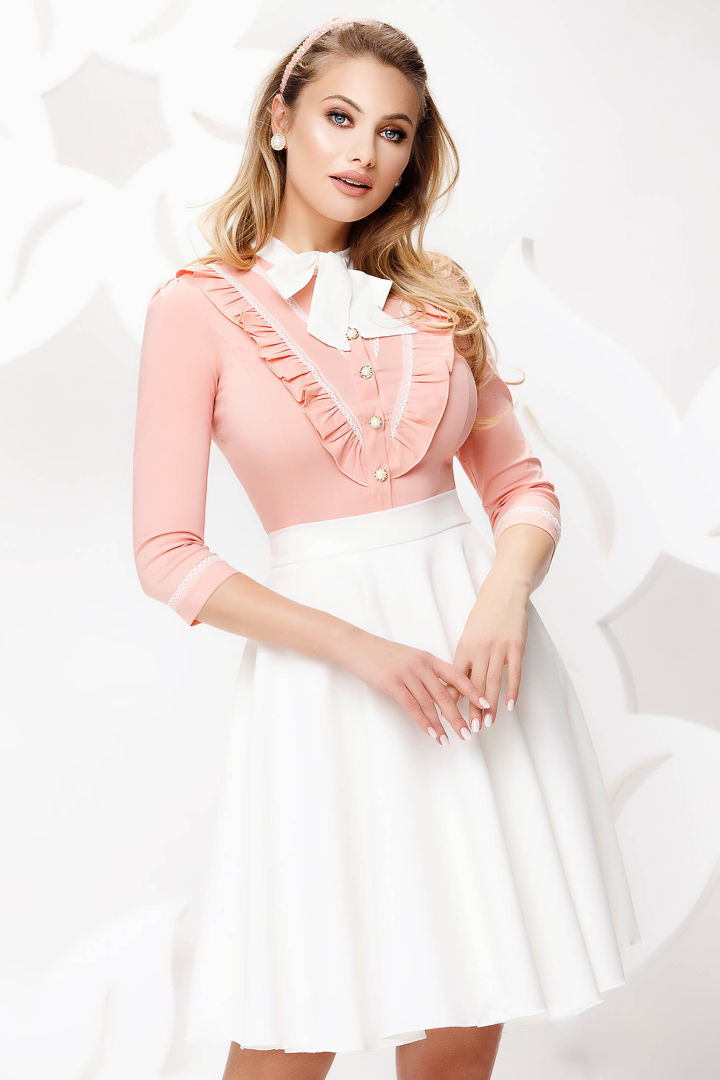 Peach women`s shirt office slightly elastic cotton with ruffle details