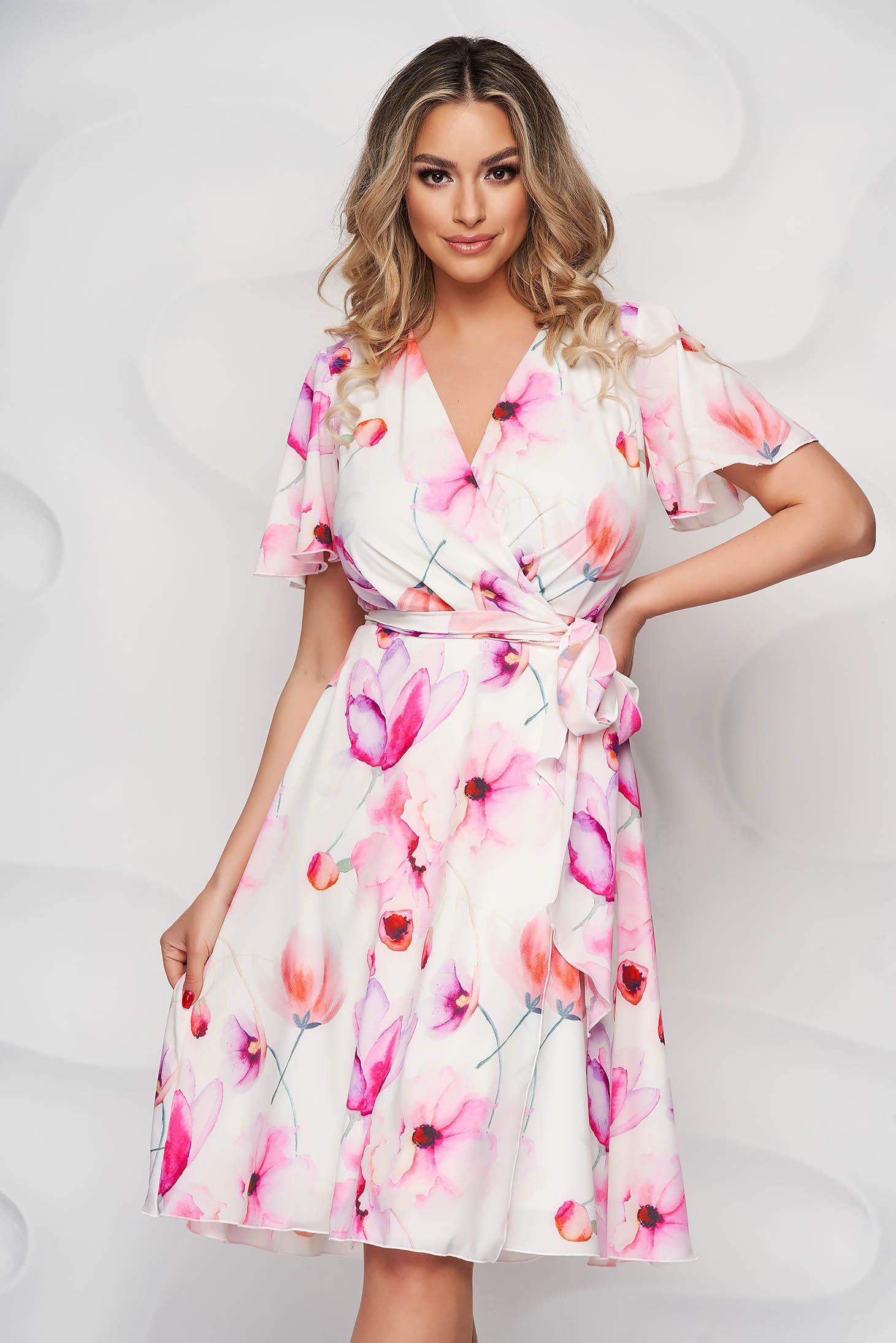StarShinerS dress with ruffled sleeves airy fabric midi cloche