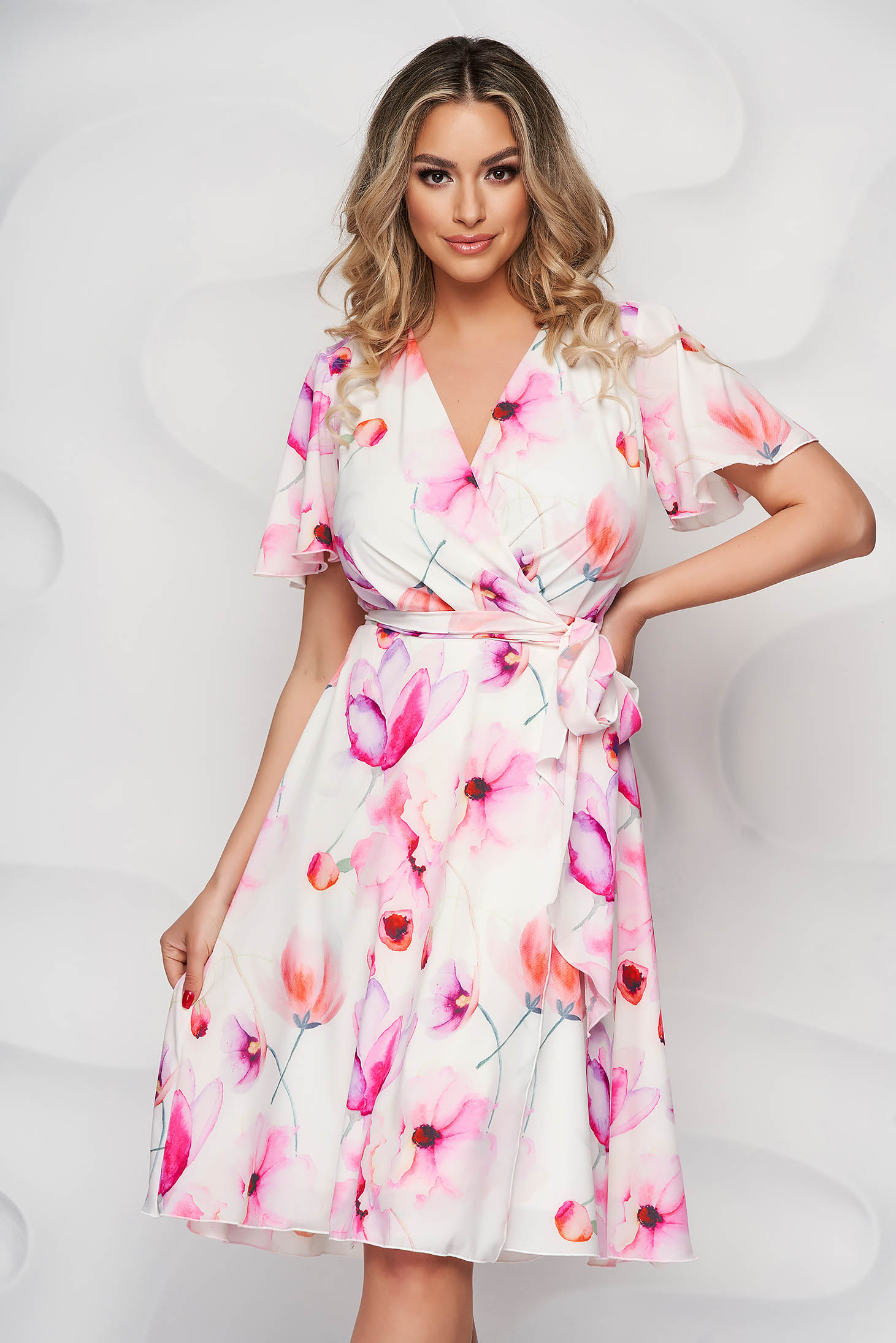 StarShinerS dress with ruffled sleeves midi from soft fabric cloche with elastic waist
