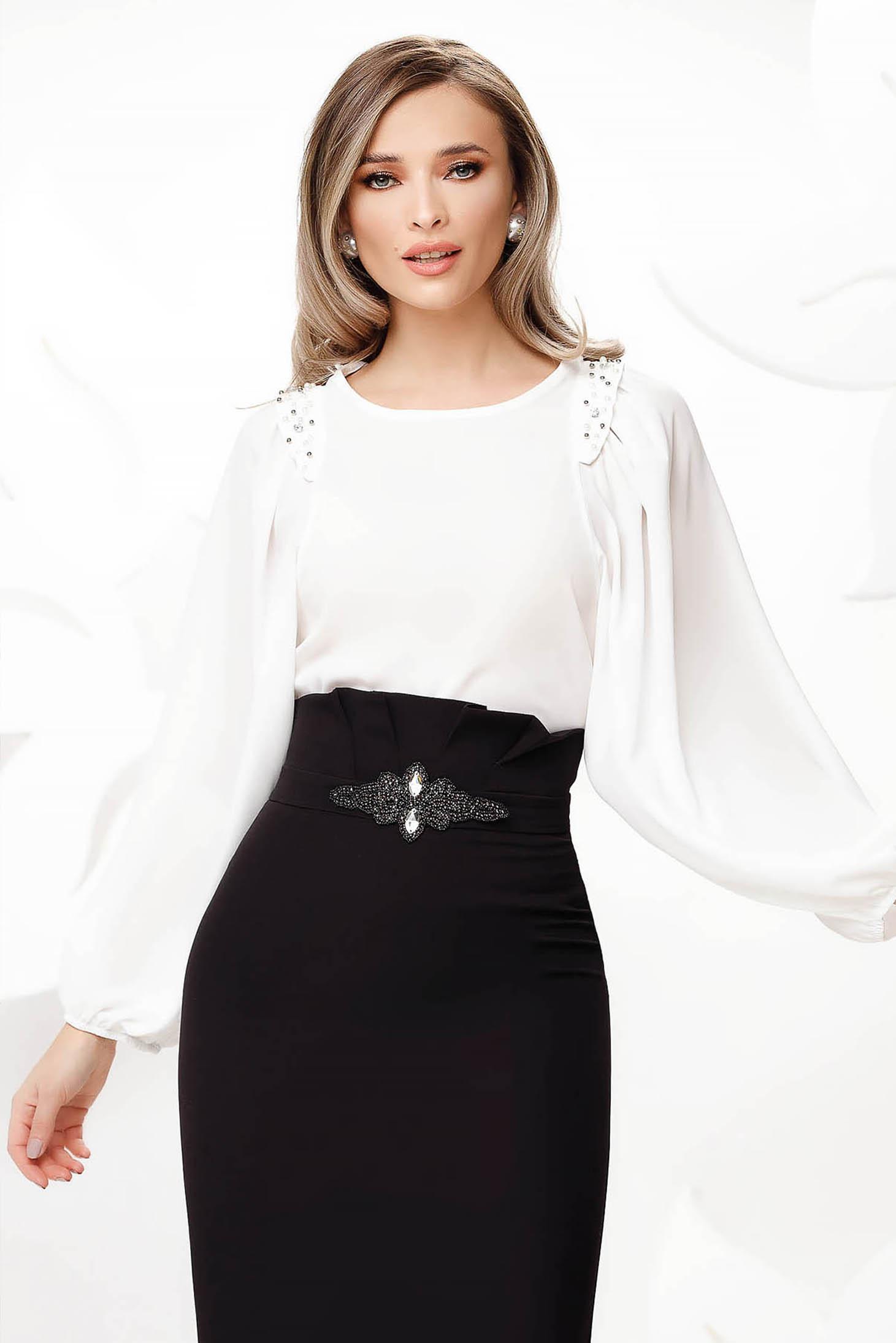 Fehér elegáns női blúz bő ujjú muszlinból