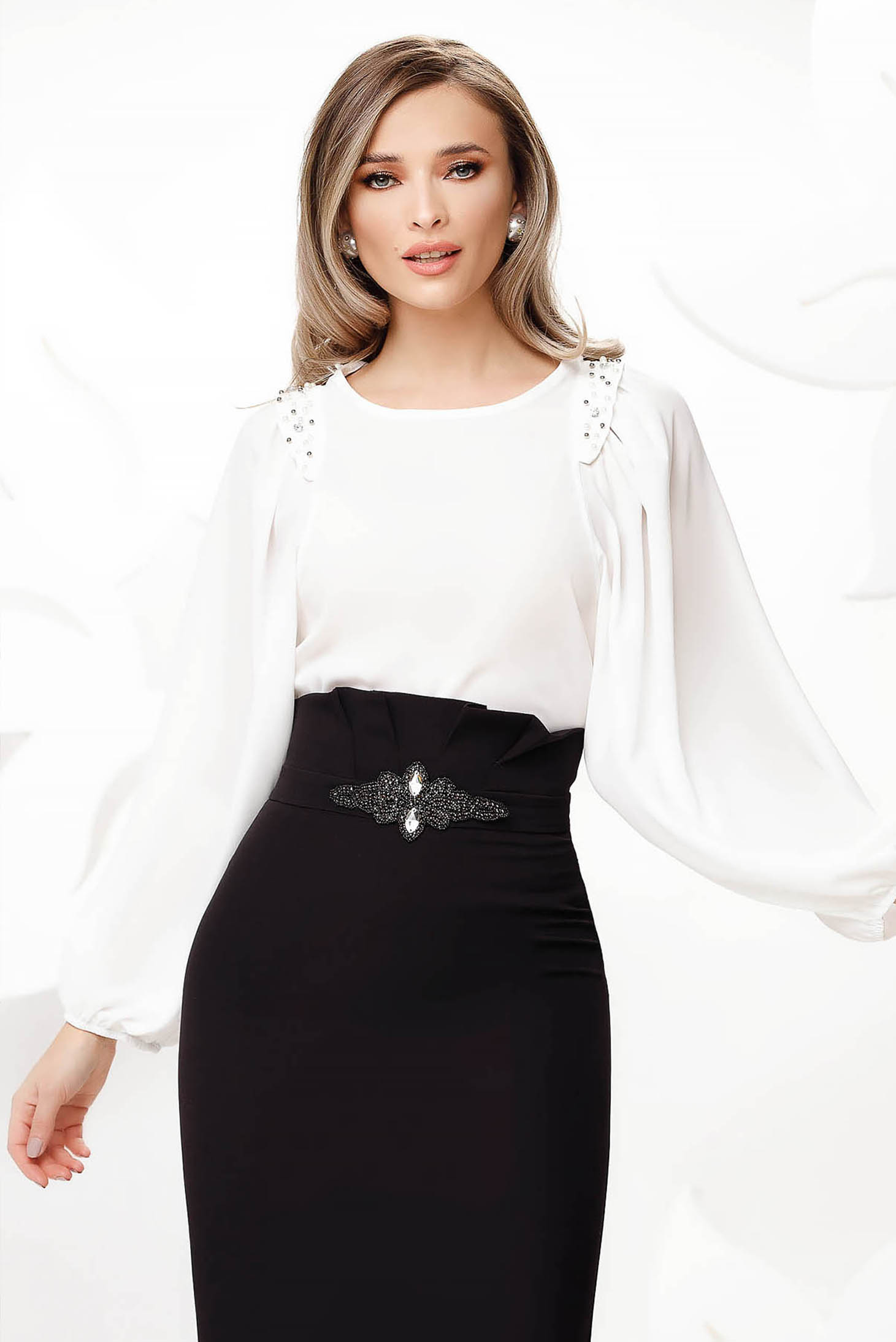 White women`s blouse from veil fabric with puffed sleeves elegant