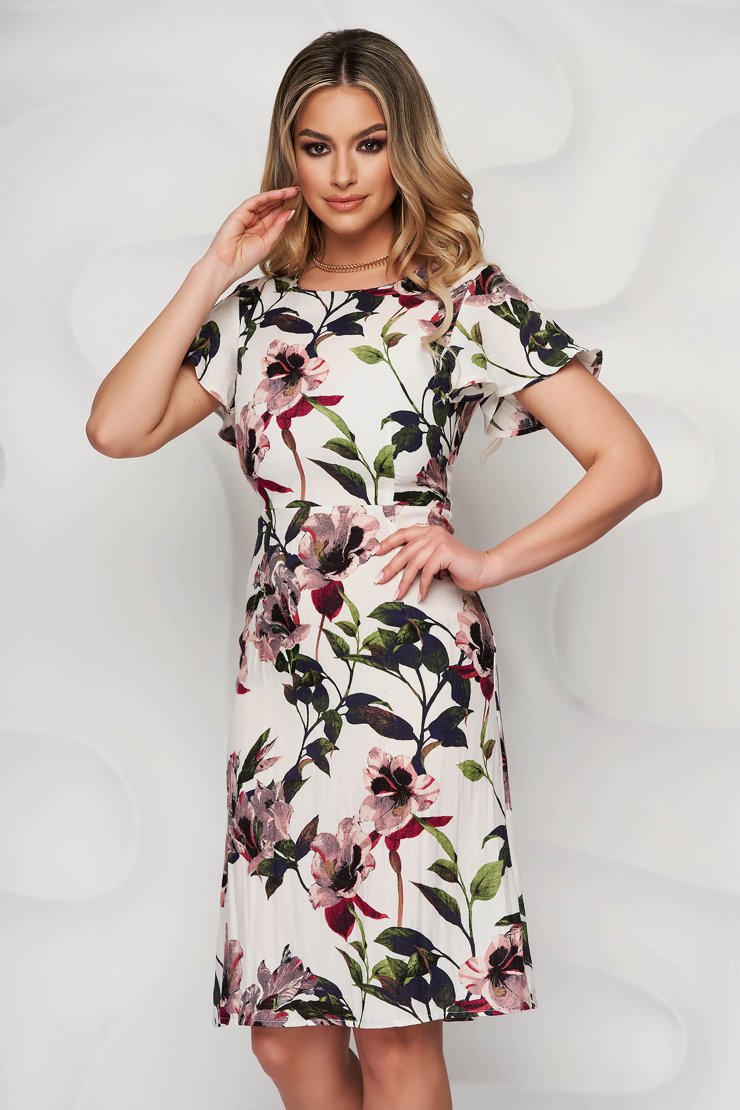 Dress with floral print a-line midi