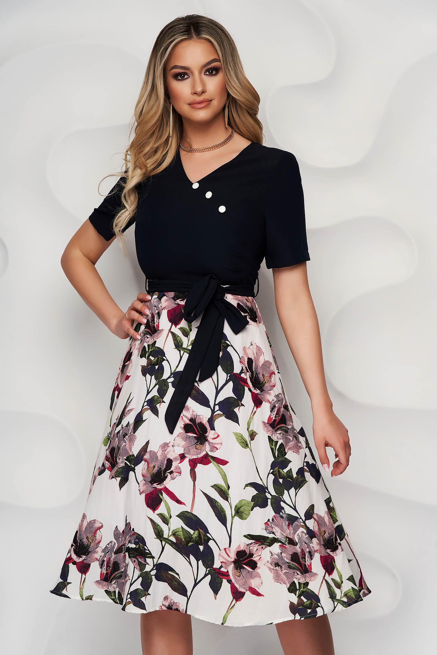 Dress cloche midi cotton with floral print