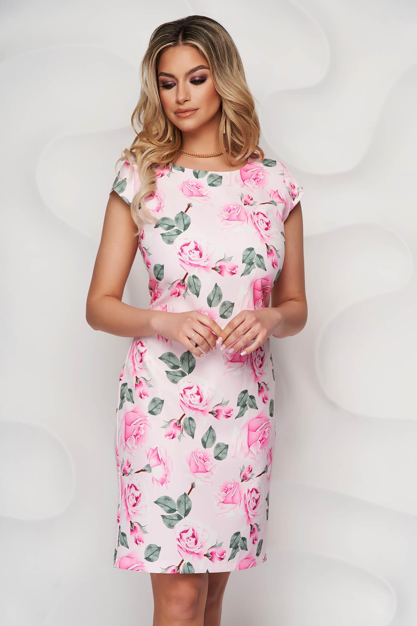 Rochie StarShinerS office scurta din stofa neelastica subtire cu un croi drept cu imprimeu floral unic