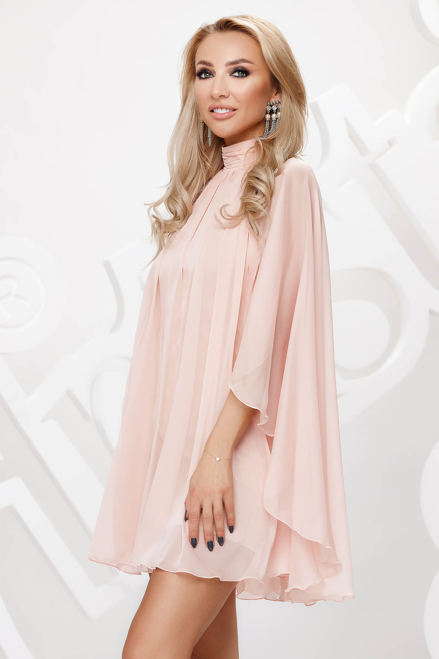 Peach from veil fabric with turtle neck short cut occasional dress