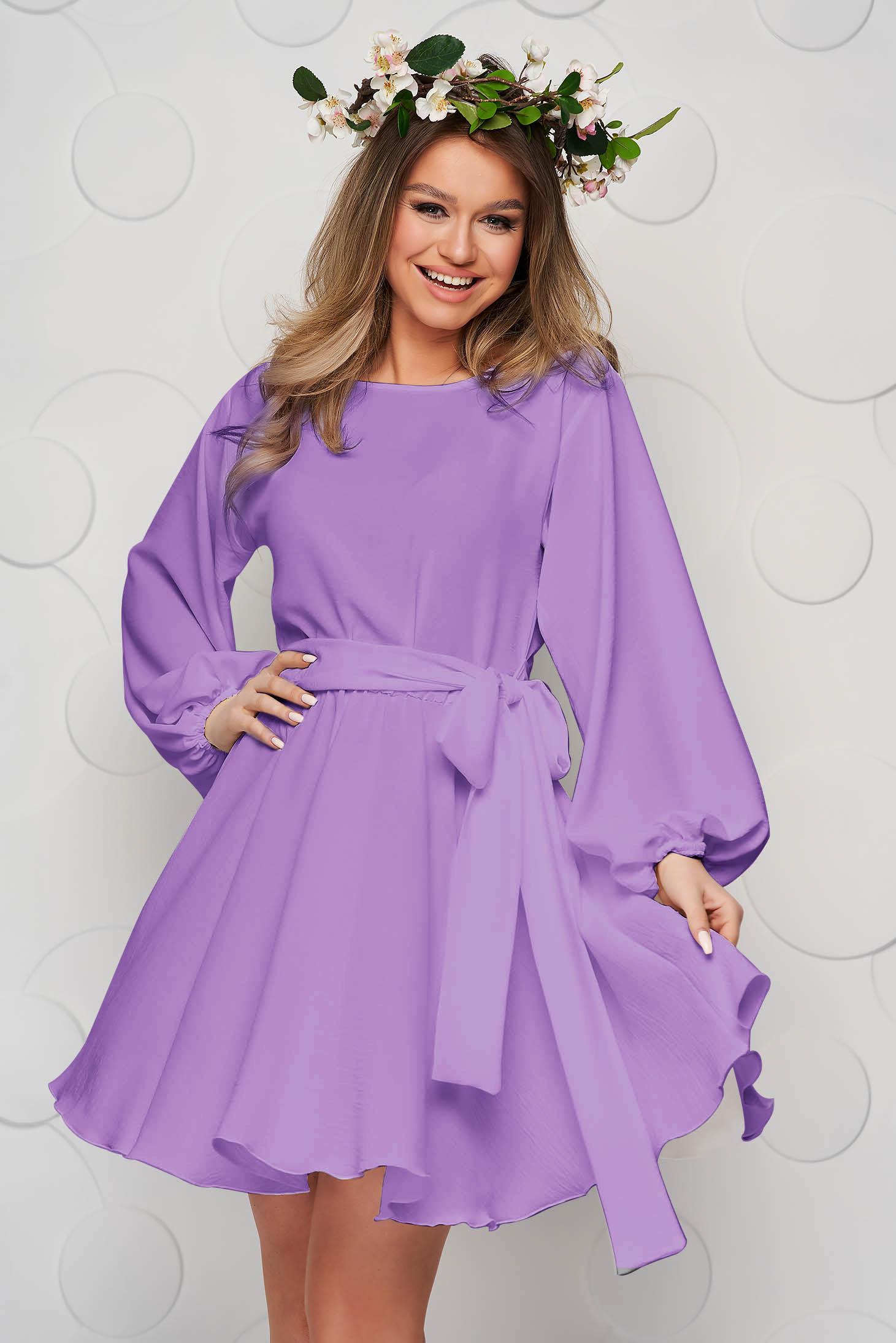 Világos-lila StarShinerS ruha bő ujjú harang alakú gumirozott derékrésszel rugalmas anyagból