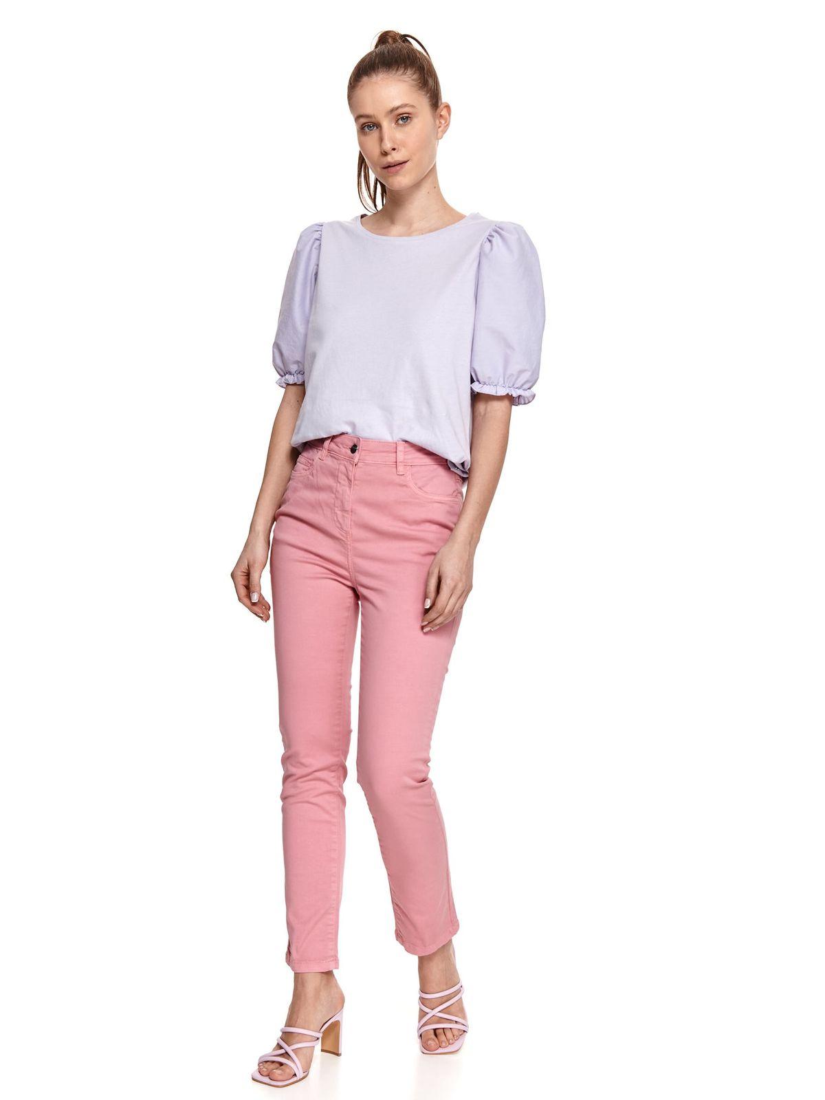 Pantaloni Top Secret roz din tesatura de bumbac cu talie normala si croi drept