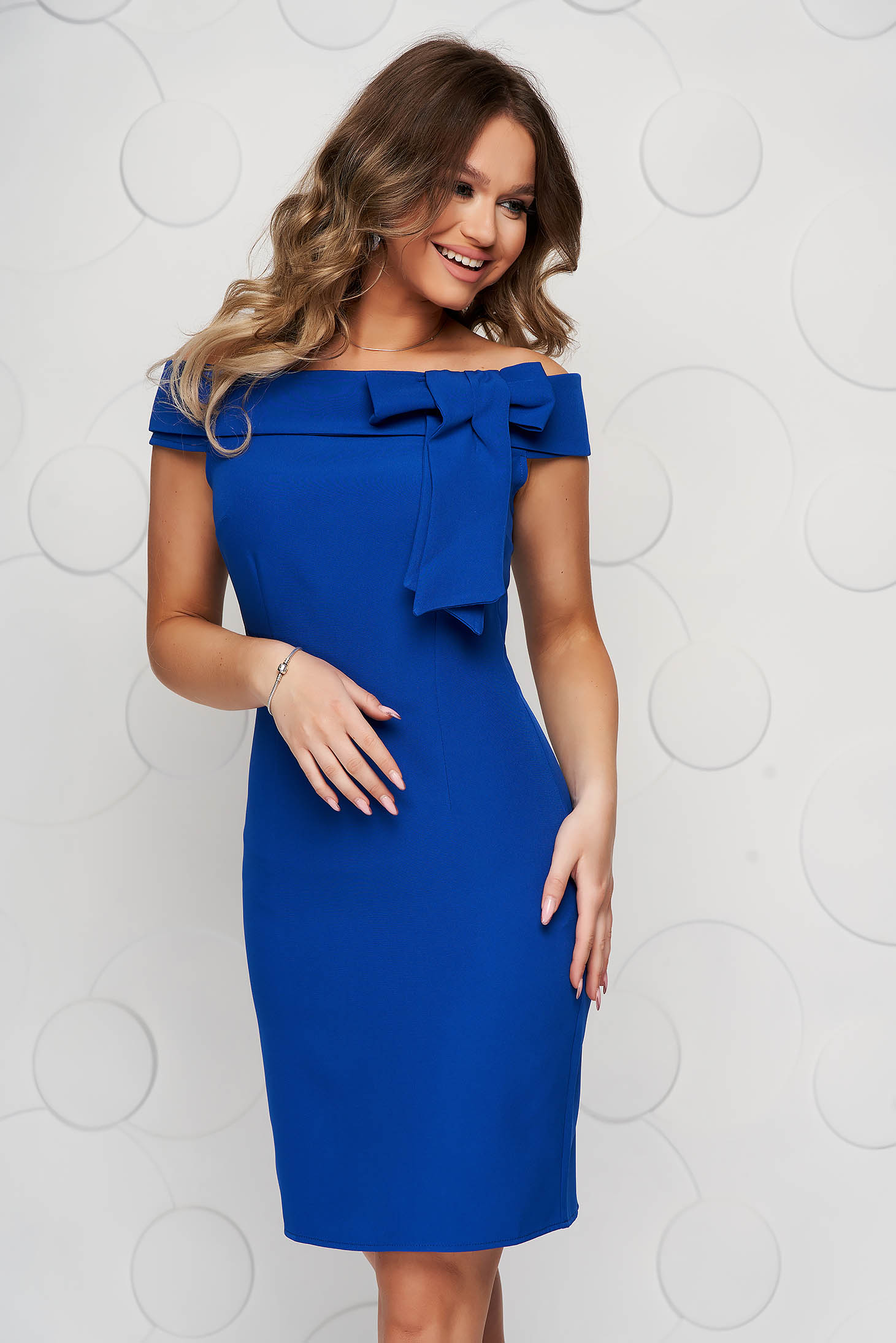 Blue dress occasional short cut bow accessory on the shoulders