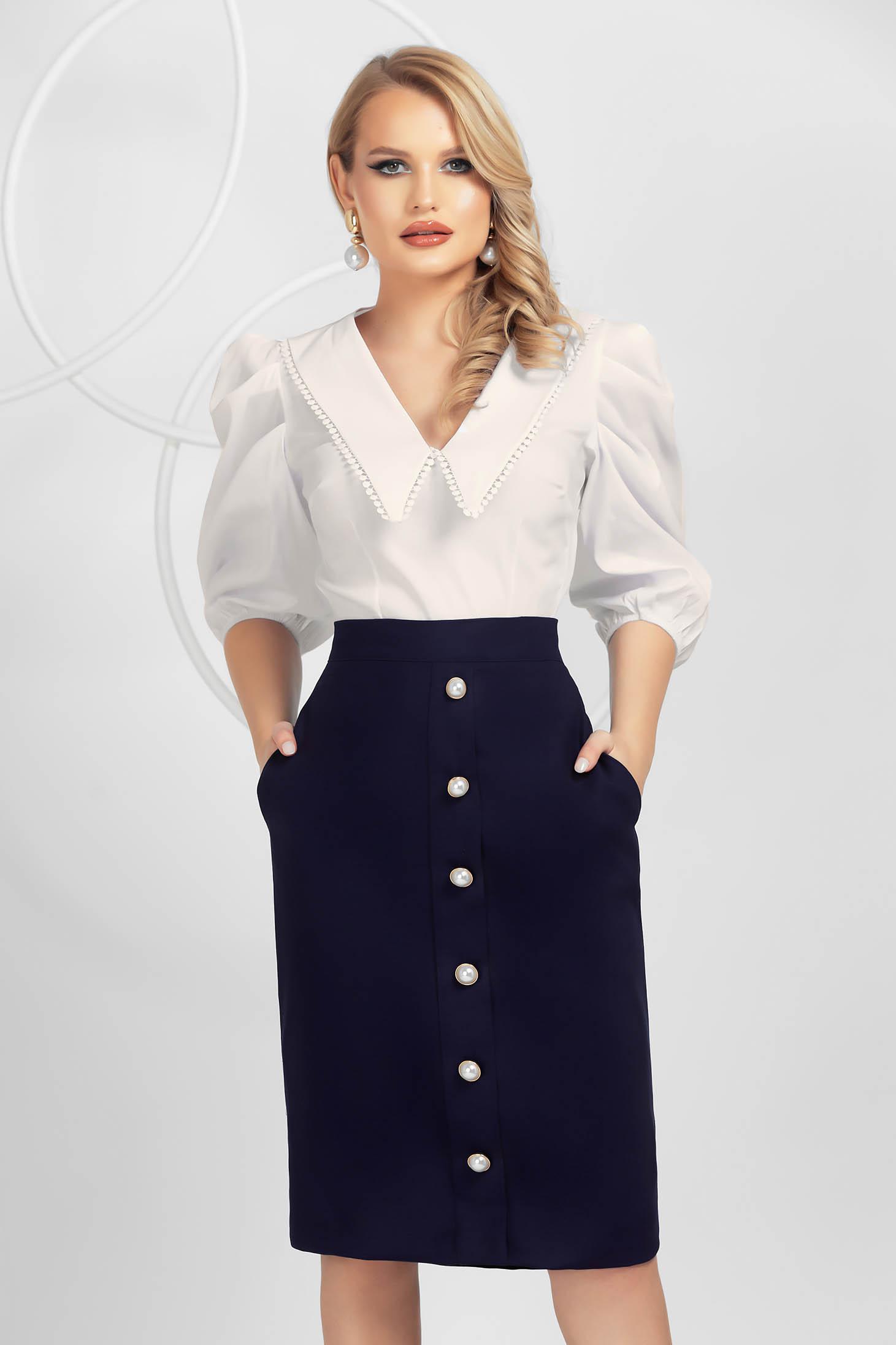Darkblue skirt slightly elastic cotton elegant pencil with button accessories