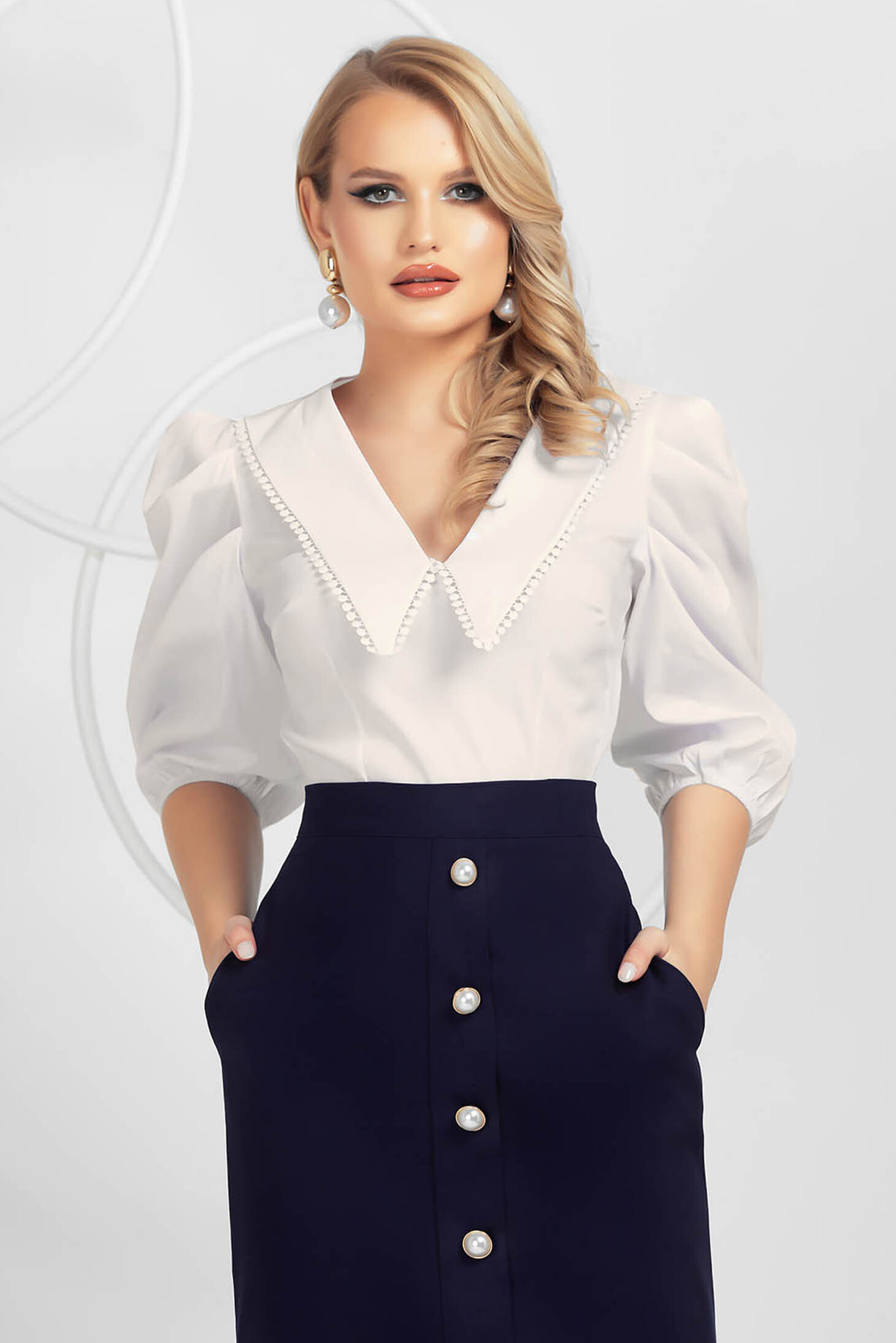 Ivory women`s shirt poplin, thin cotton high shoulders