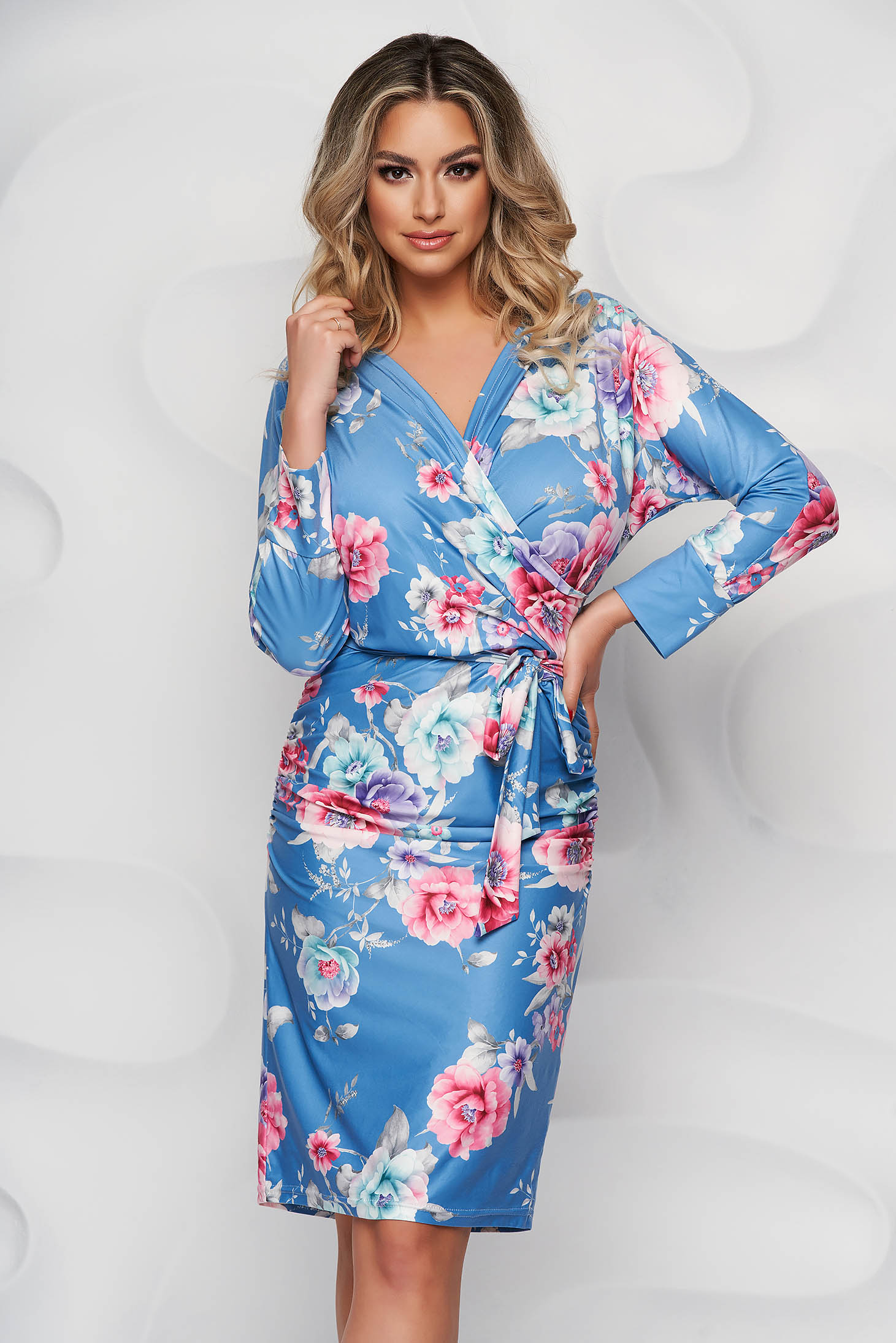 StarShinerS dress with floral print from elastic fabric office pencil short cut with v-neckline