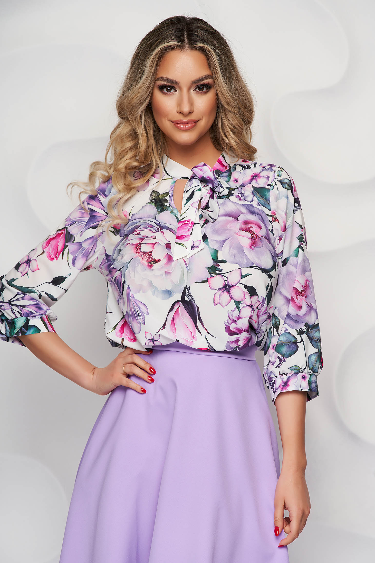 StarShinerS women`s blouse with floral print airy fabric office
