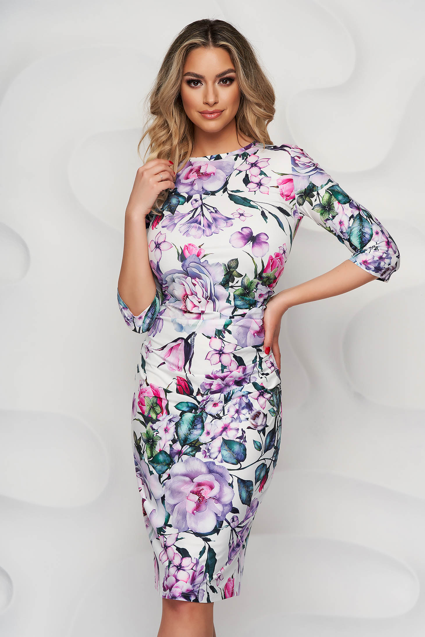 Rochie StarShinerS office midi tip creion din material elastic si fin usor incretit in lateral cu imprimeu floral unic