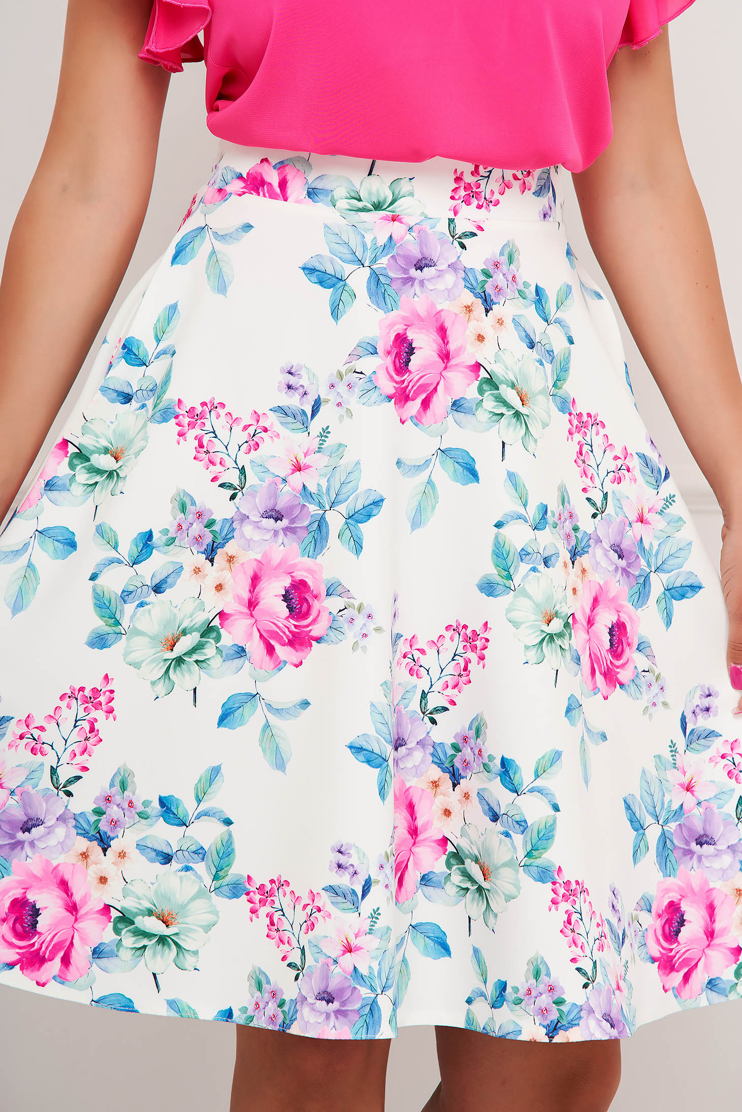 StarShinerS skirt midi with floral print with pockets cloche