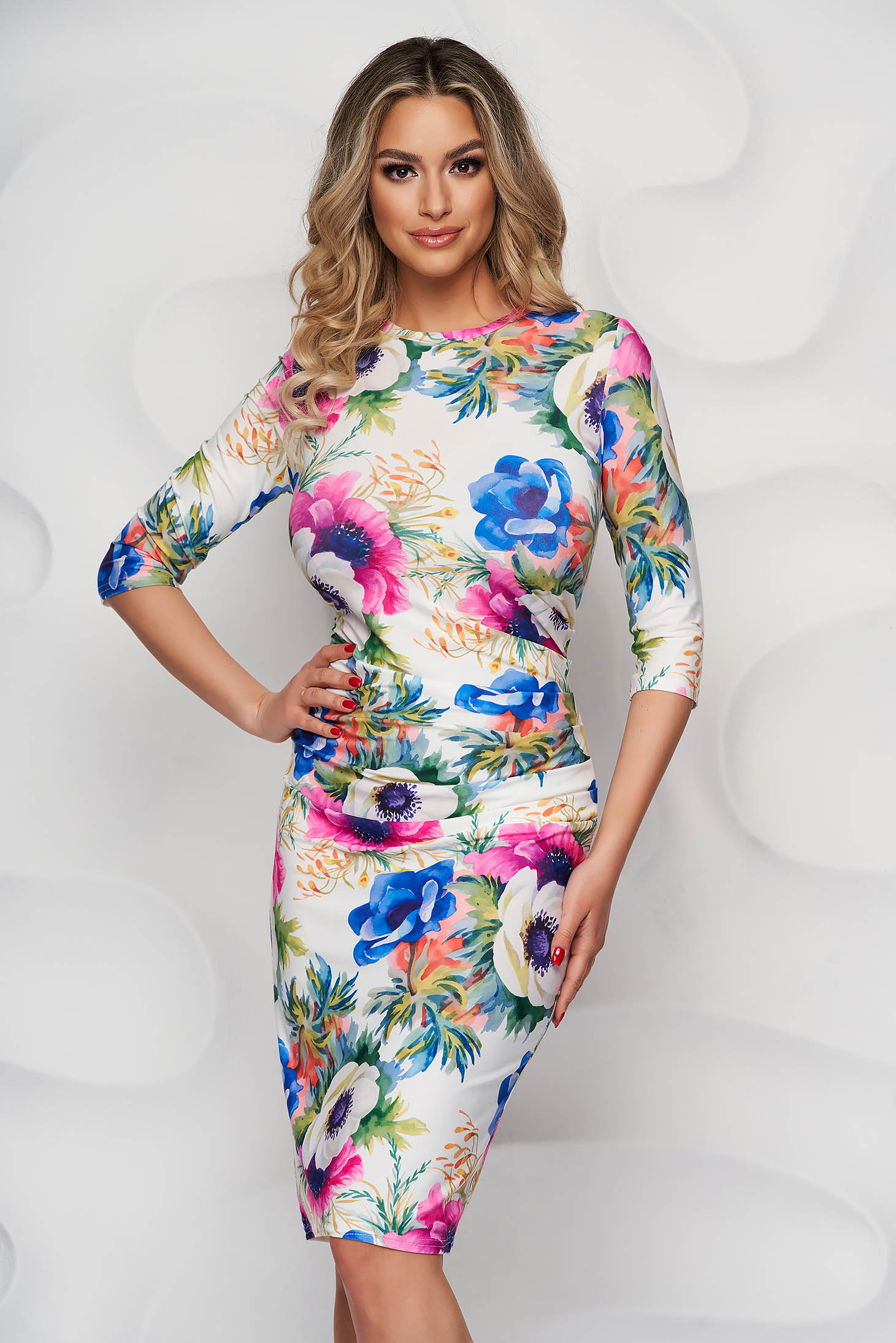 StarShinerS with floral print midi pencil from elastic fabric dress office slightly wrinkled fabric