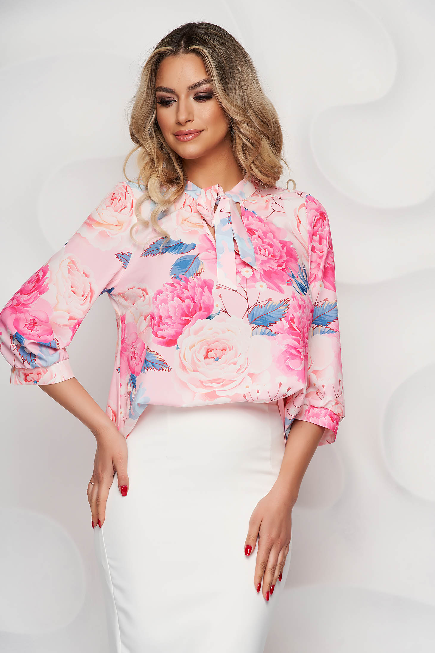StarShinerS women`s blouse asymmetrical elegant with floral print slightly elastic fabric