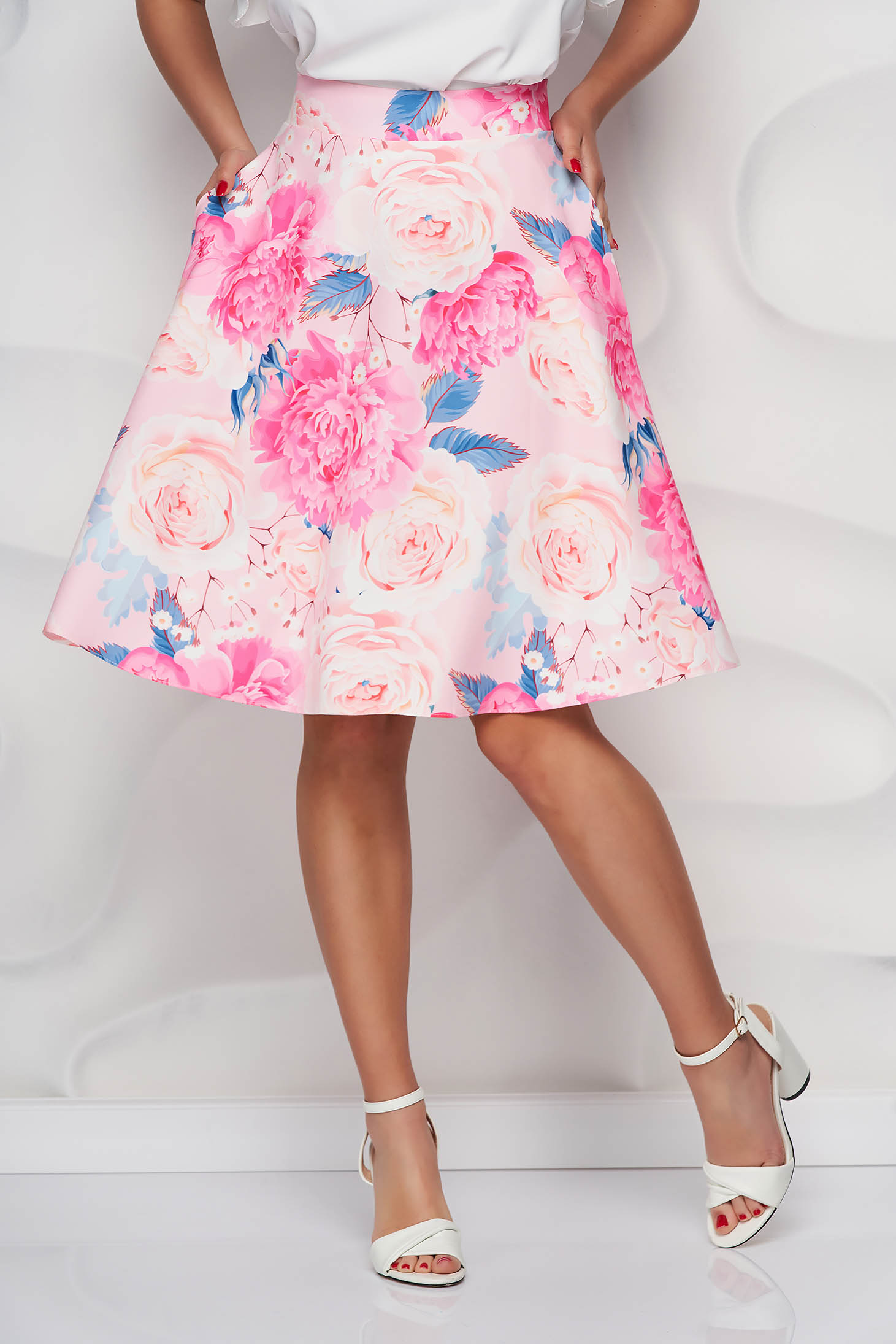 StarShinerS skirt with floral print thin fabric midi cloche