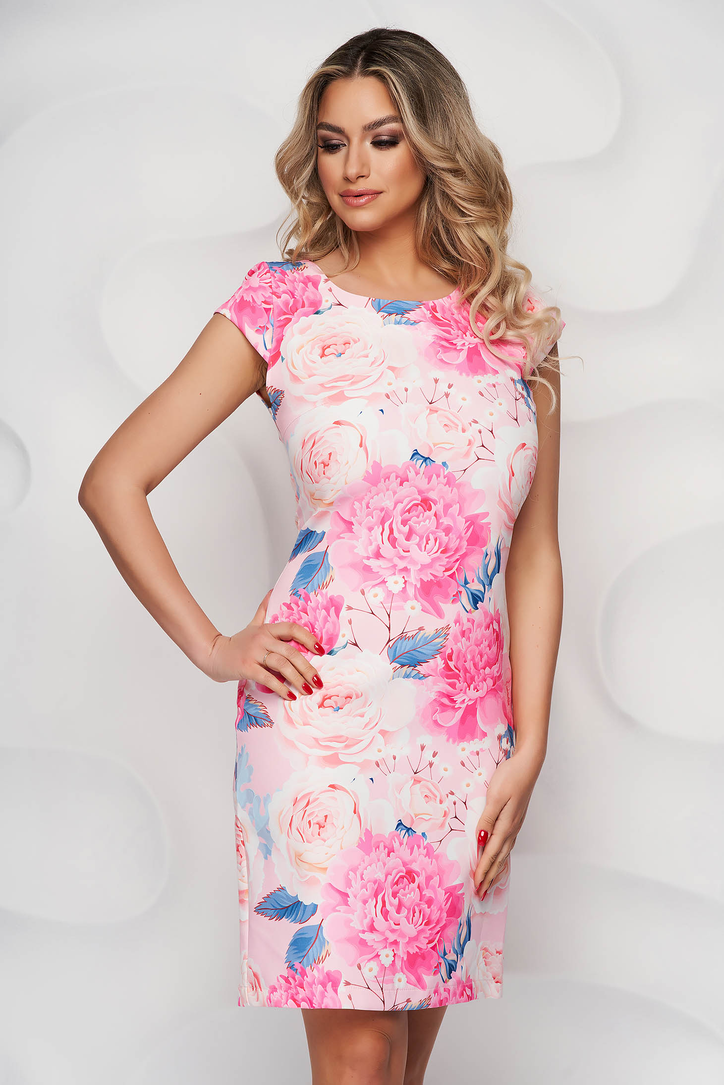 Rochie StarShinerS office cu imprimeu floral unic din material usor elastic