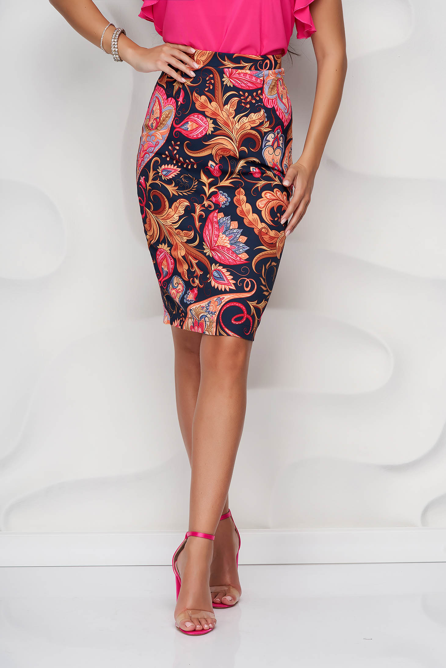 StarShinerS skirt midi pencil thin fabric back slit with floral print
