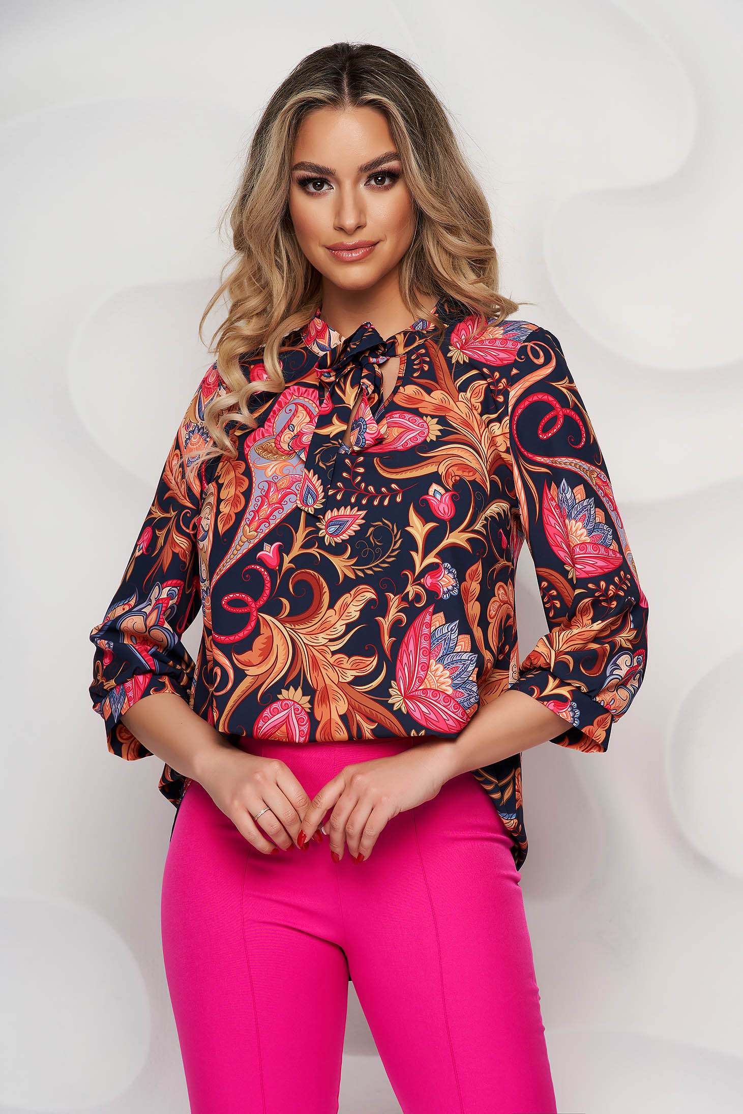 Bluza dama StarShinerS eleganta cu imprimeu floral asimetrica din material usor elastic