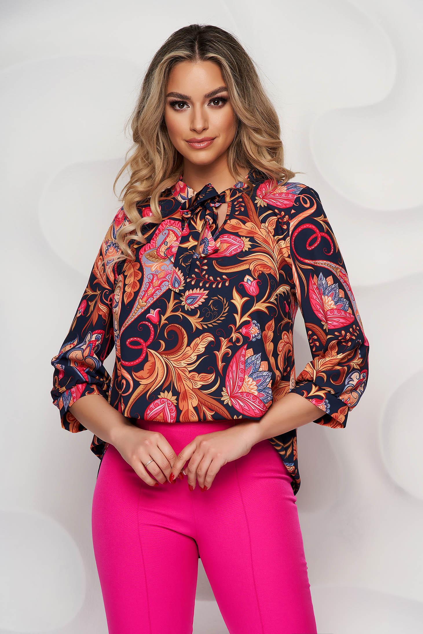 Bluza dama StarShinerS office asimetrica din material usor elastic cu imprimeu floral unic