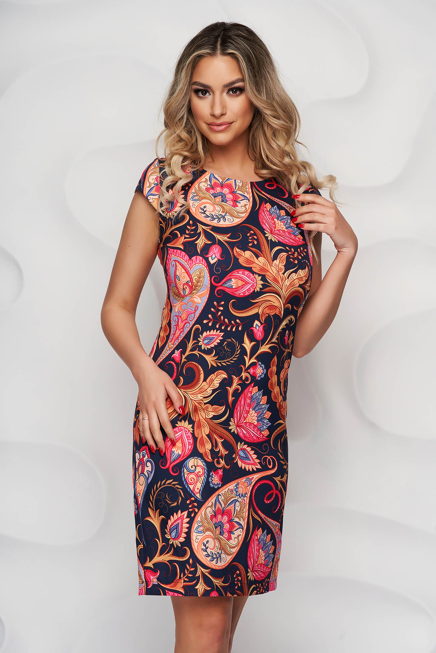 StarShinerS dress with floral print office straight non-flexible thin fabric short cut