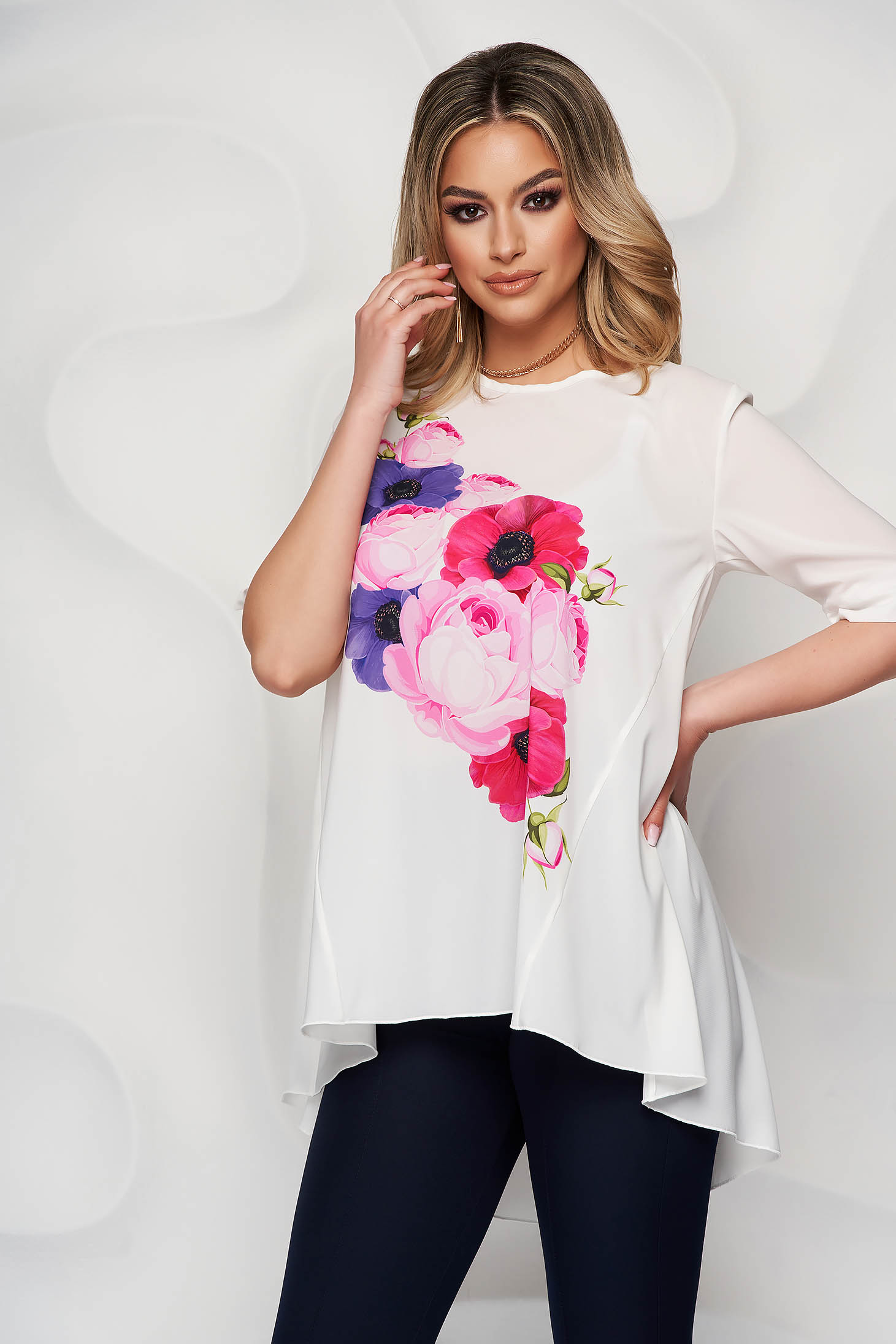 StarShinerS ivory women`s blouse with floral print from veil fabric loose fit