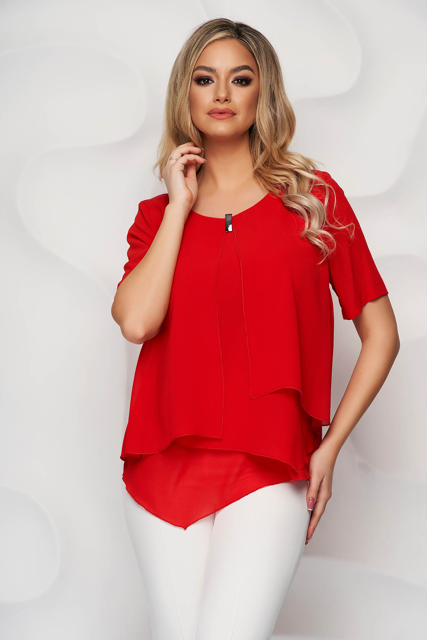 Red women`s blouse from veil fabric asymmetrical with metalic accessory