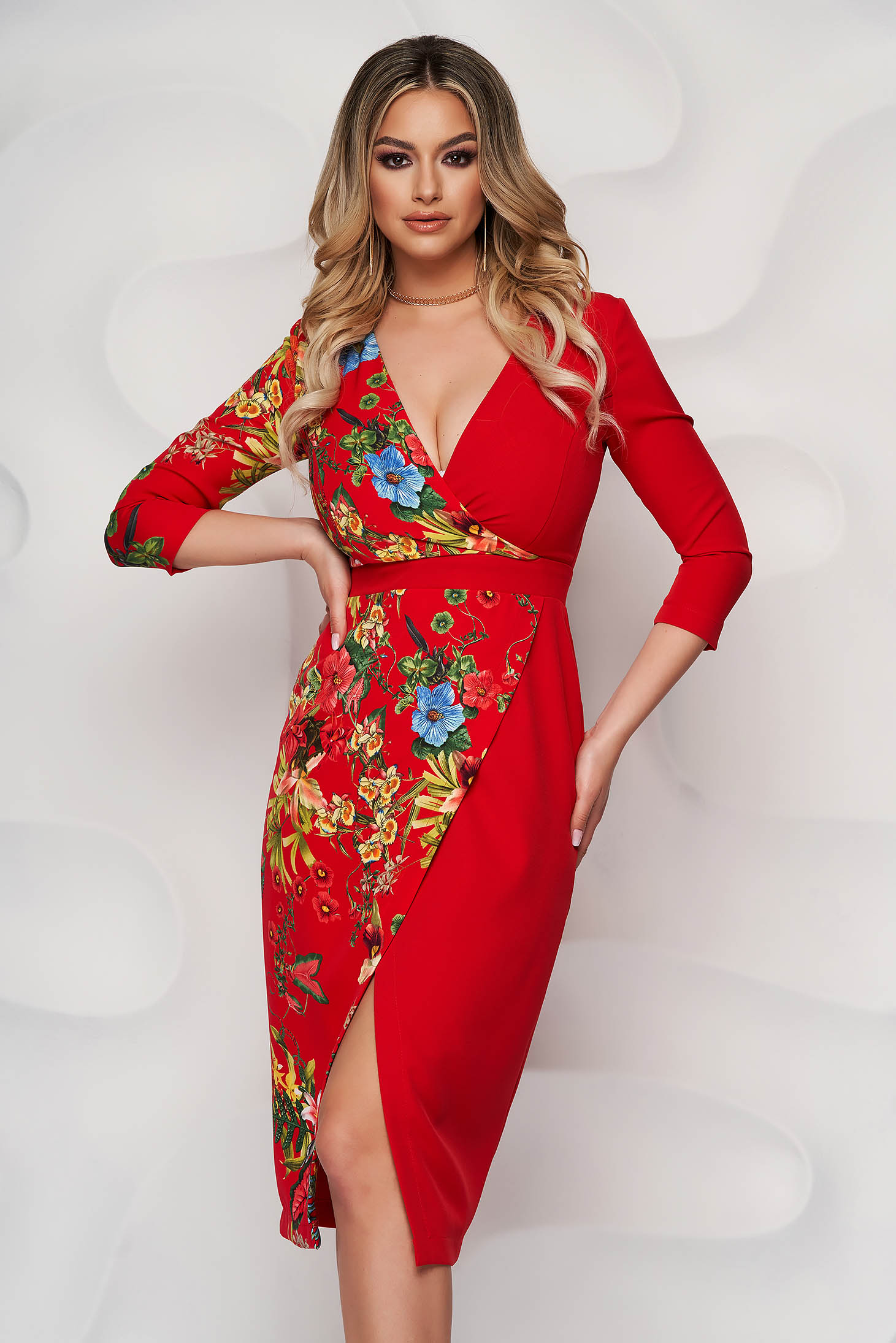 StarShinerS red dress with floral print midi pencil wrap over front