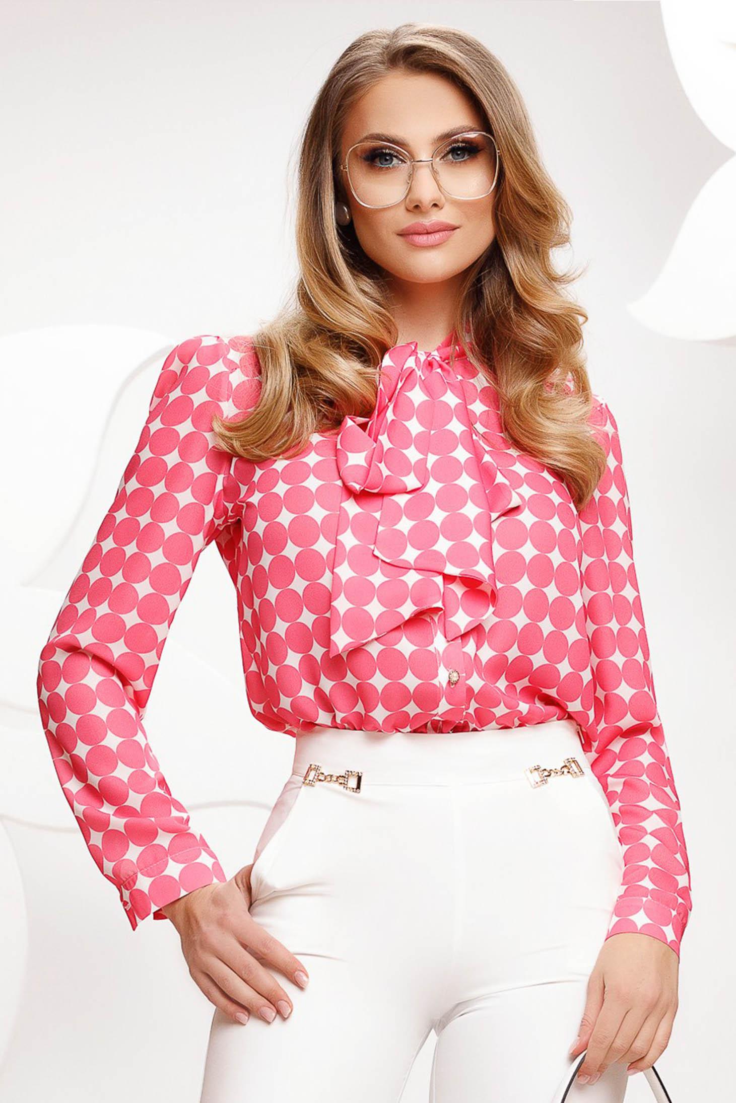 Pink pöttyös női blúz muszlinból bő szabású masnival megköthető