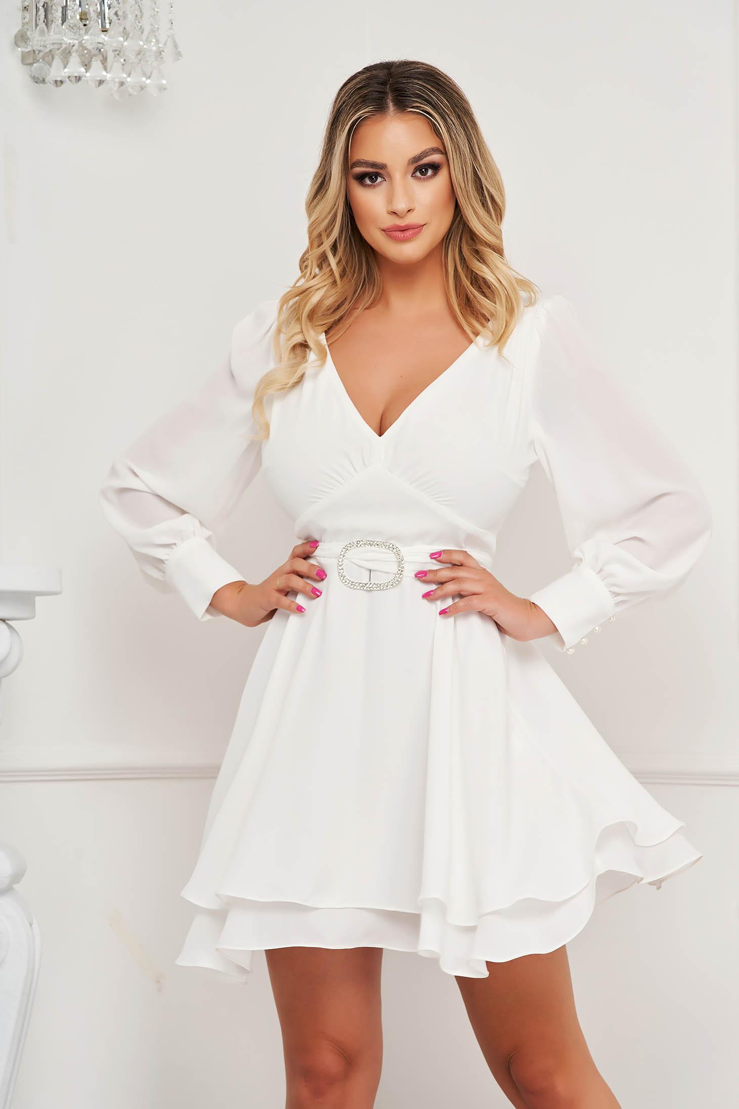 Fehér rövid bő ujjú alkalmi muszlin harang ruha