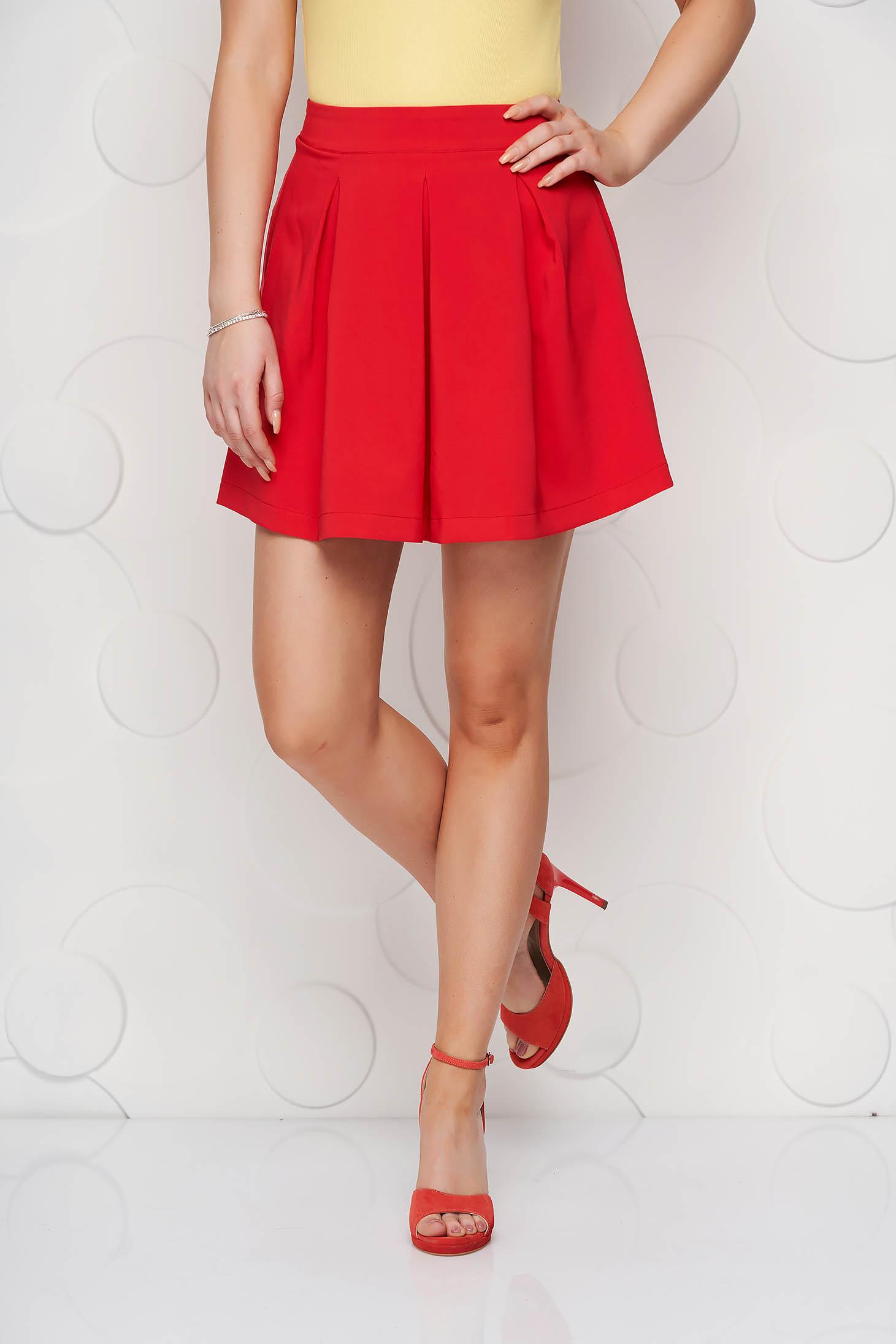 Coral casual cloche skirt slightly elastic fabric medium waist