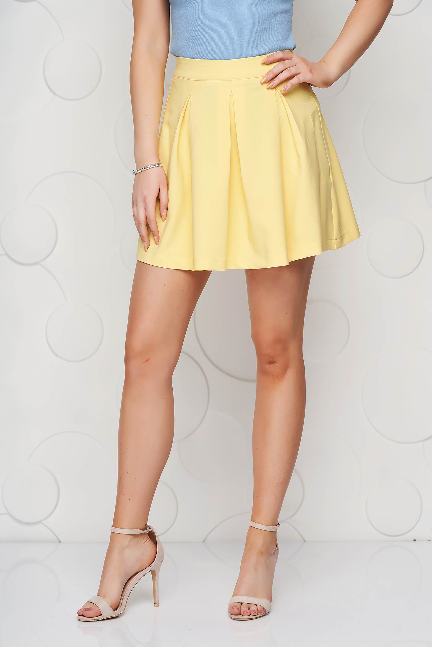 Yellow casual cloche skirt slightly elastic fabric medium waist