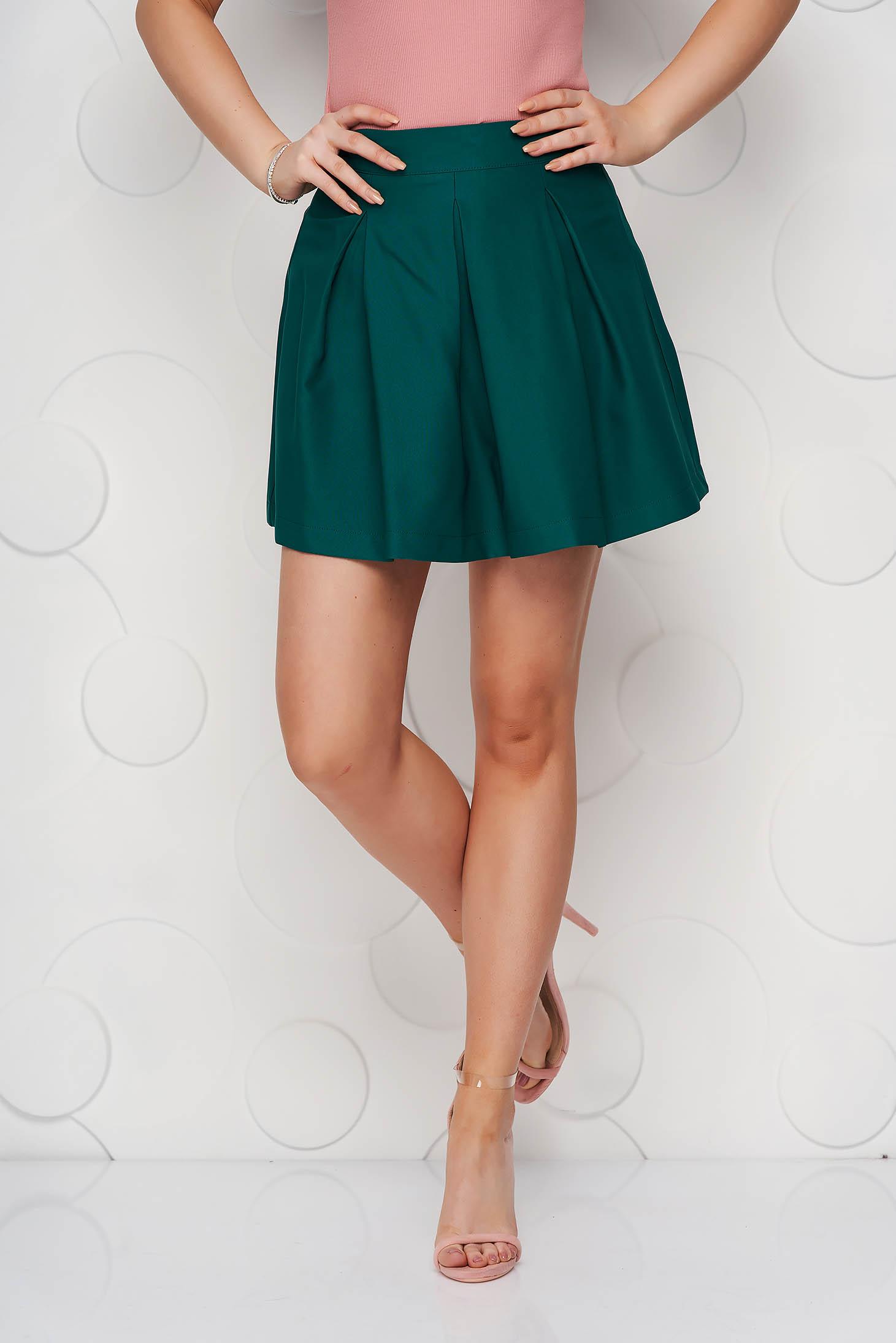 Dirty green casual cloche skirt slightly elastic fabric medium waist