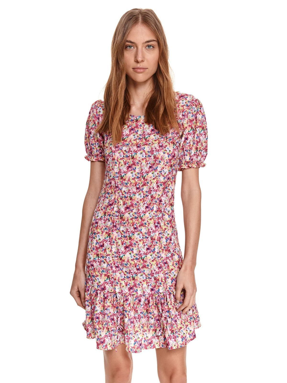 Pink dress with floral print with ruffles at the buttom of the dress with ruffled sleeves cloche