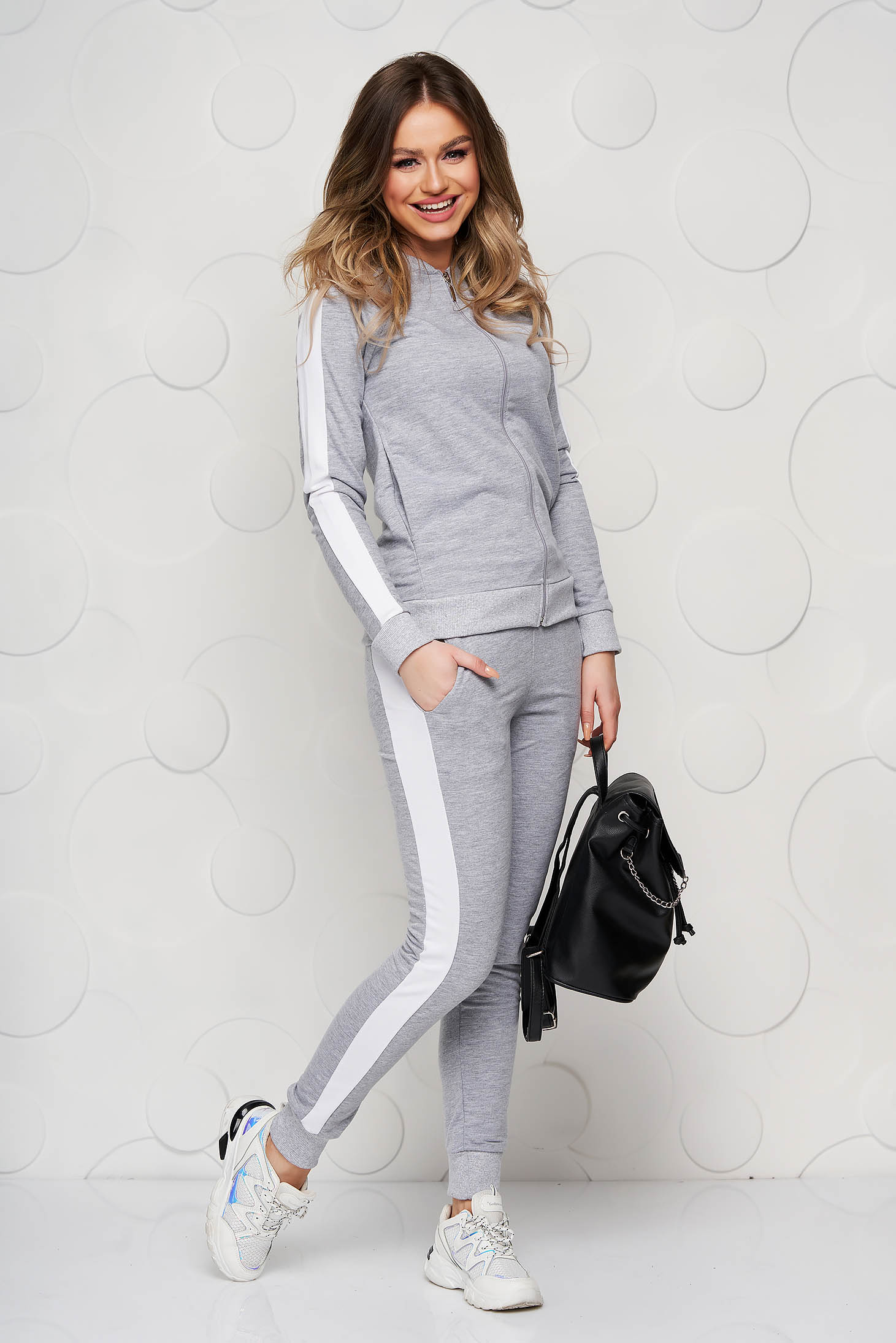Grey sporty set slightly elastic cotton with tented cut with medium waist with elastic waist