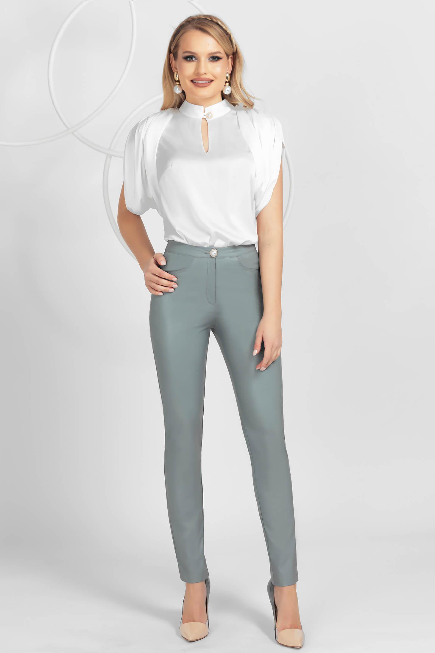 Pantaloni PrettyGirl gri office conici cu talie inalta